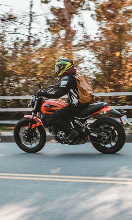 102311 télécharger le fond d'écran Moto, Motocyclette, Bicyclette, Vélo, Motard, Cycliste, Route, Asphalte - économiseurs d'écran et images gratuitement
