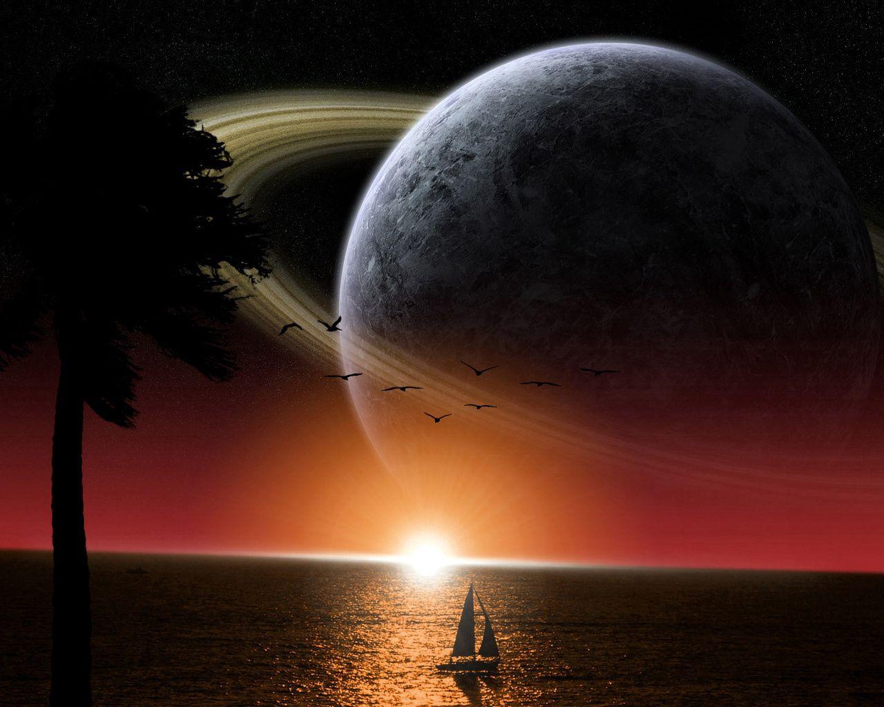 77213 скачать обои Космос, Фэнтези, Сатурн, Море, Солнце, Корабль - заставки и картинки бесплатно