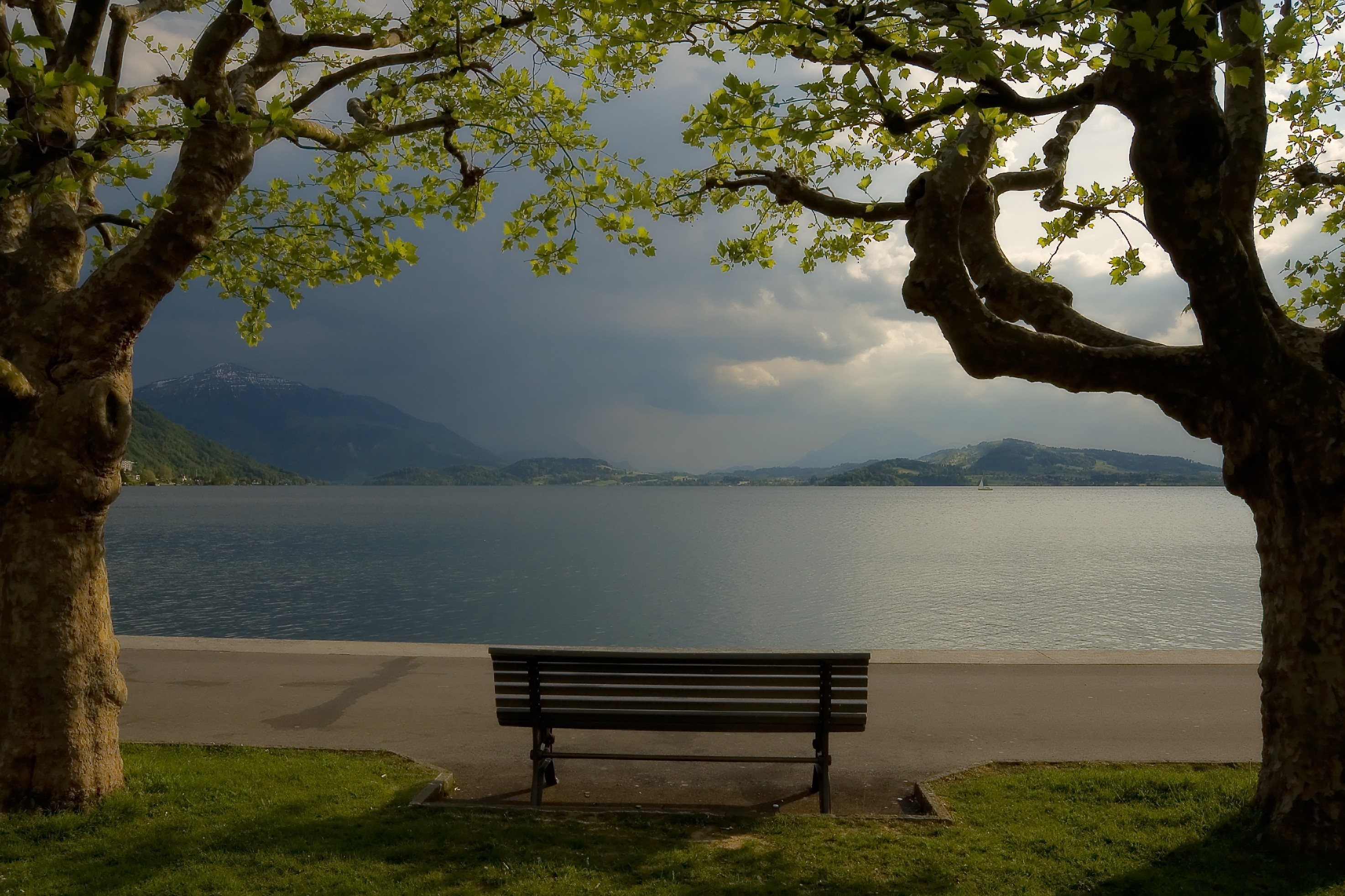 119269 Screensavers and Wallpapers Bench for phone. Download Horizon, Nature, Lake, Shore, Bank, Lines, Bench pictures for free