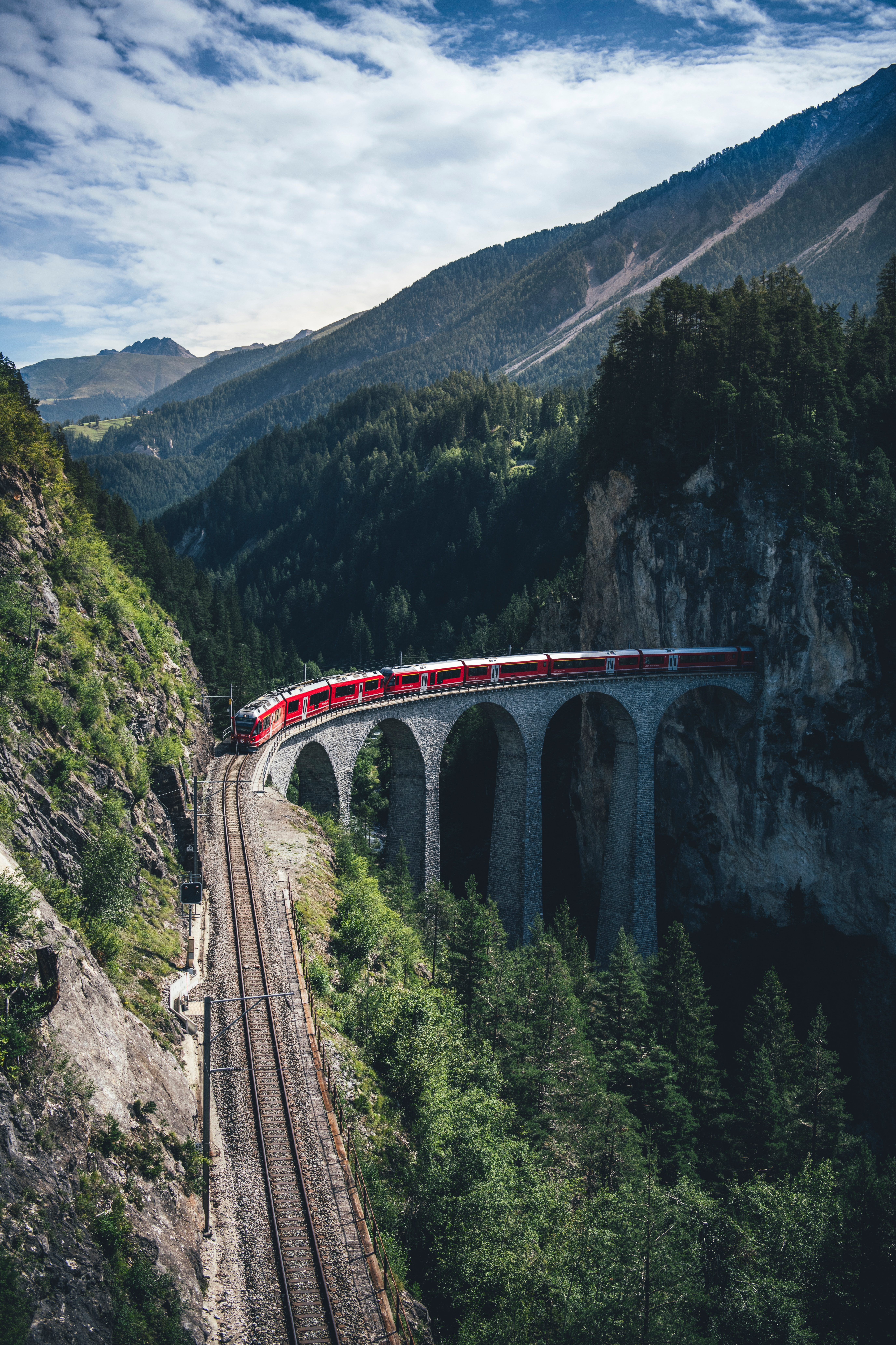 130019 Screensavers and Wallpapers Train for phone. Download Train, Nature, Mountains, View From Above, Bridge, Railway pictures for free