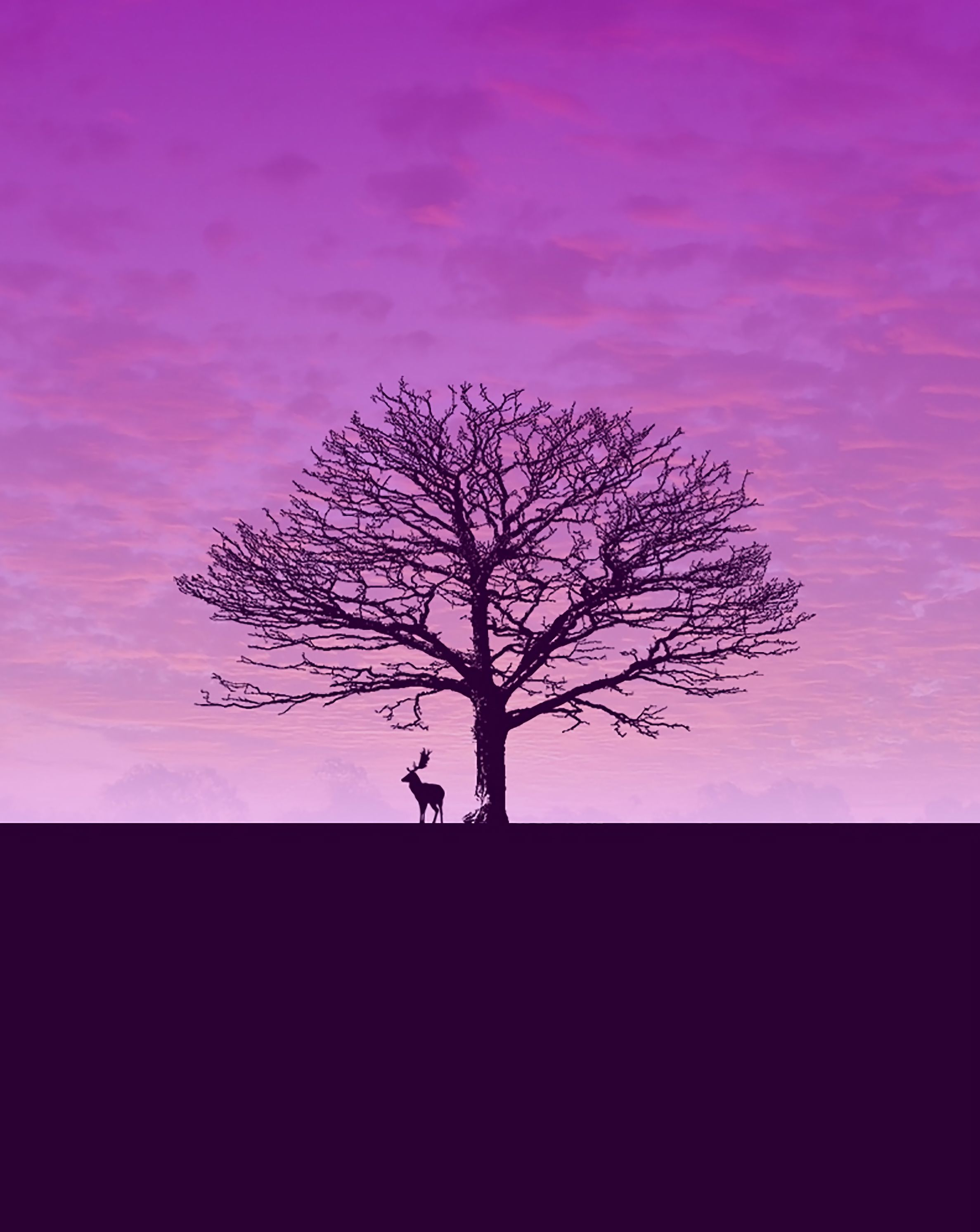 58009 download wallpaper Minimalism, Deer, Wood, Tree, Clouds, Sky screensavers and pictures for free
