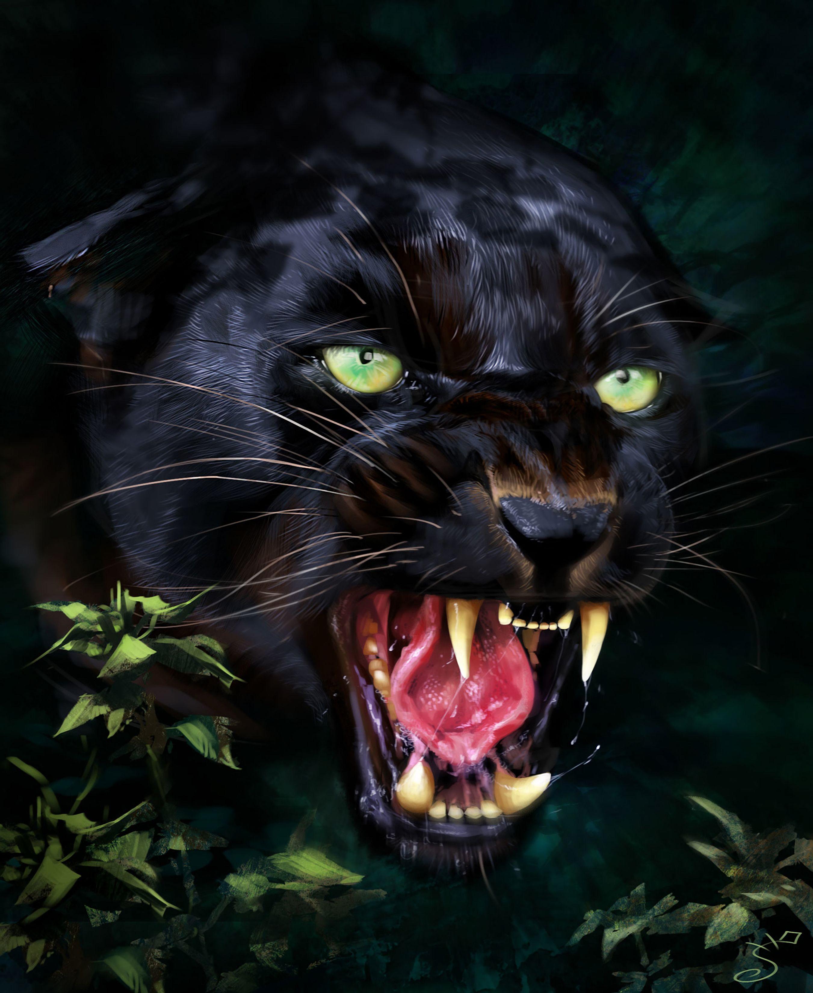 89442 Hintergrundbild herunterladen Kunst, Jaguar, Grinsen, Grin, Raubtier, Predator, Fangzähne, Zähne - Bildschirmschoner und Bilder kostenlos