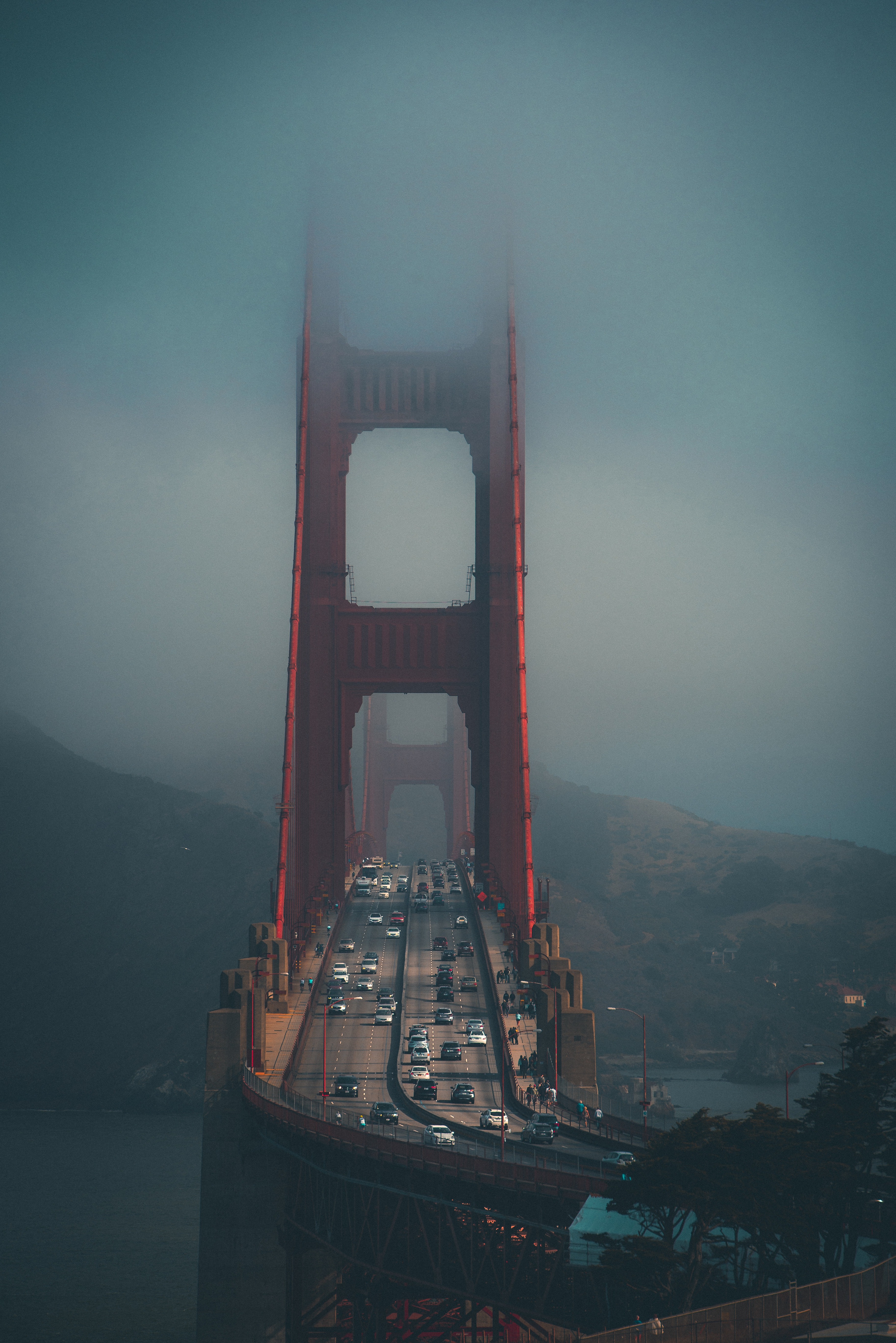 137787 Screensavers and Wallpapers Bridge for phone. Download Cities, City, Fog, Traffic, Movement, Bridge pictures for free