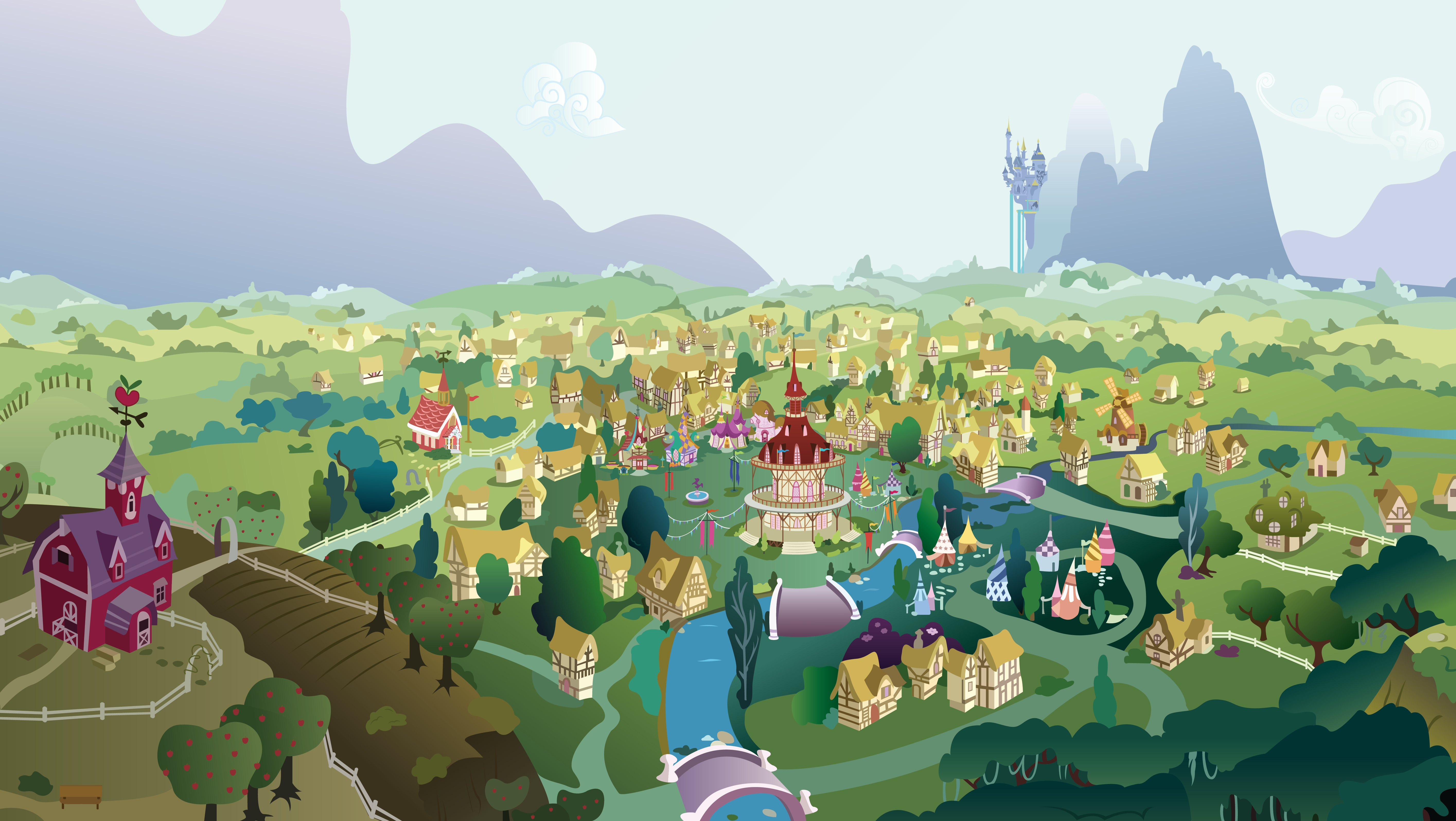 149030 download wallpaper Vector, City, Picture, Drawing, Multicolored, Motley, Colorful, Colourful, Mountains screensavers and pictures for free
