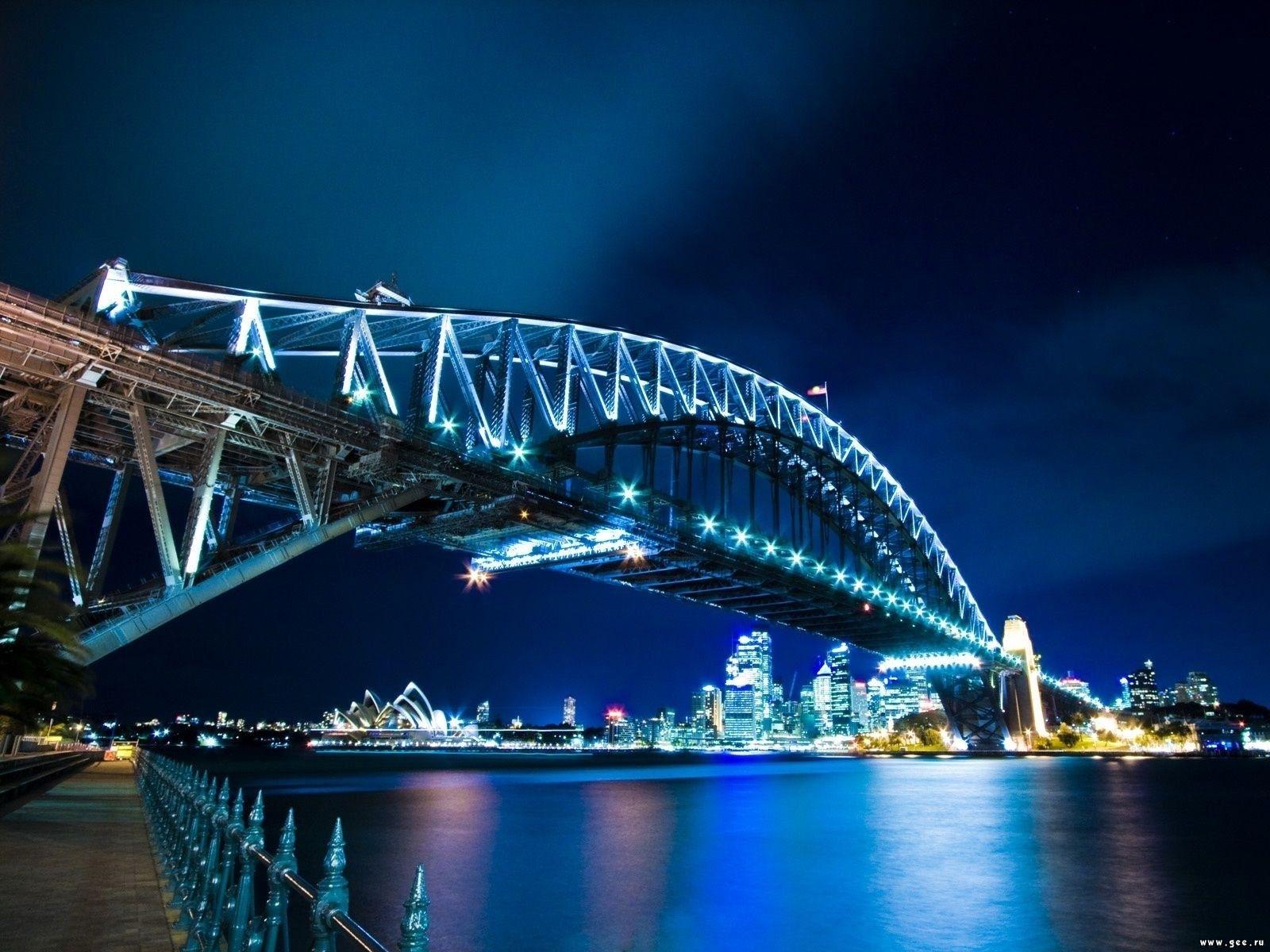 6768 скачать обои Пейзаж, Река, Мосты, Ночь - заставки и картинки бесплатно