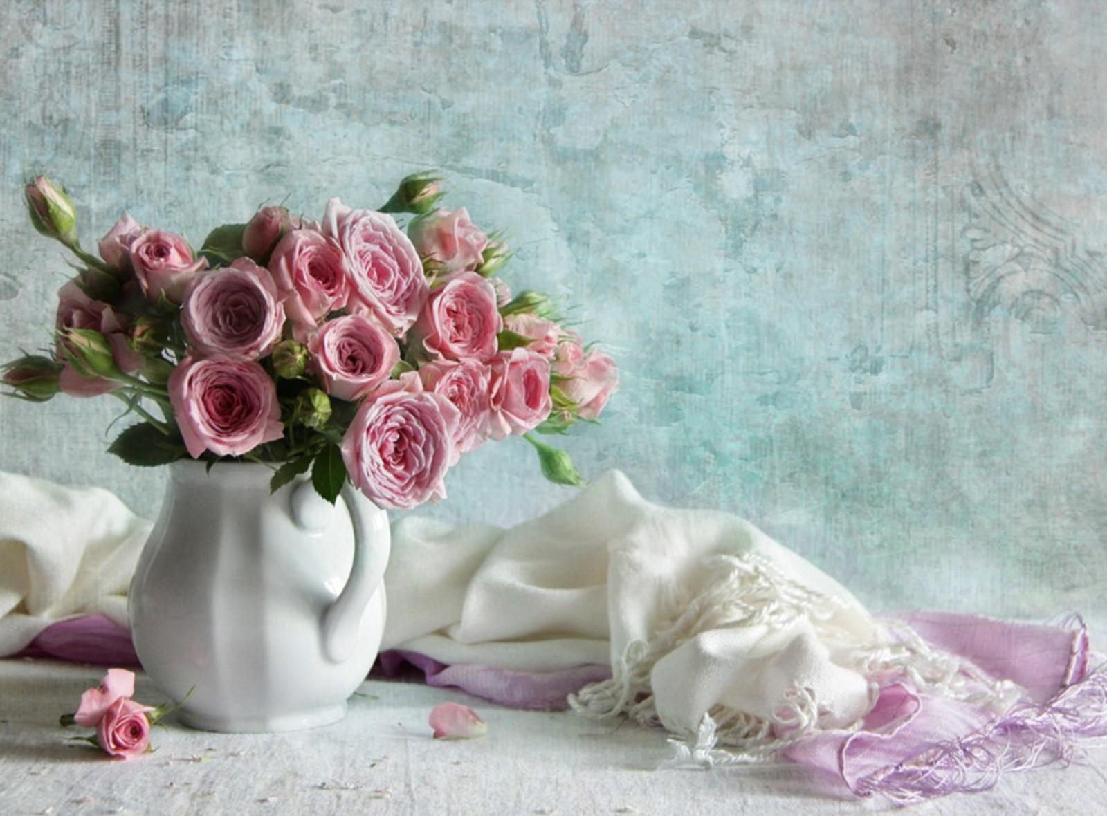 71438 Screensavers and Wallpapers Scarf for phone. Download Flowers, Roses, Bouquet, Jug, Petal, Scarf pictures for free
