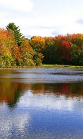 25472 скачать обои Пейзаж, Река, Деревья, Осень - заставки и картинки бесплатно
