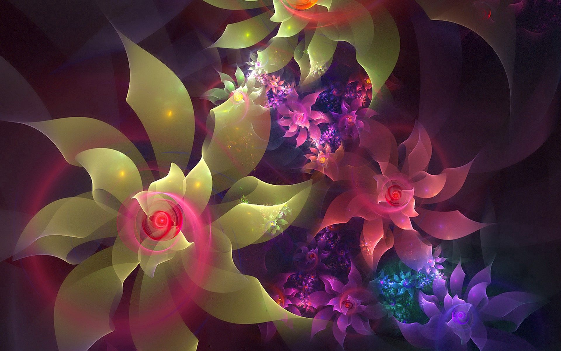 115224 download wallpaper Abstract, Fractal, Lines, Color, Flowers, Patterns screensavers and pictures for free