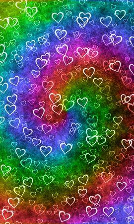 95564 télécharger le fond d'écran Amour, Un Cœur, Cœur, Arc En Ciel, Texture, Patterns, Cœurs - économiseurs d'écran et images gratuitement