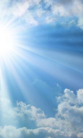 Baixar papel de parede gratuito 16267: papel de parede Paisagem, Fundo, Céu, Sol, Nuvens para telefone celular