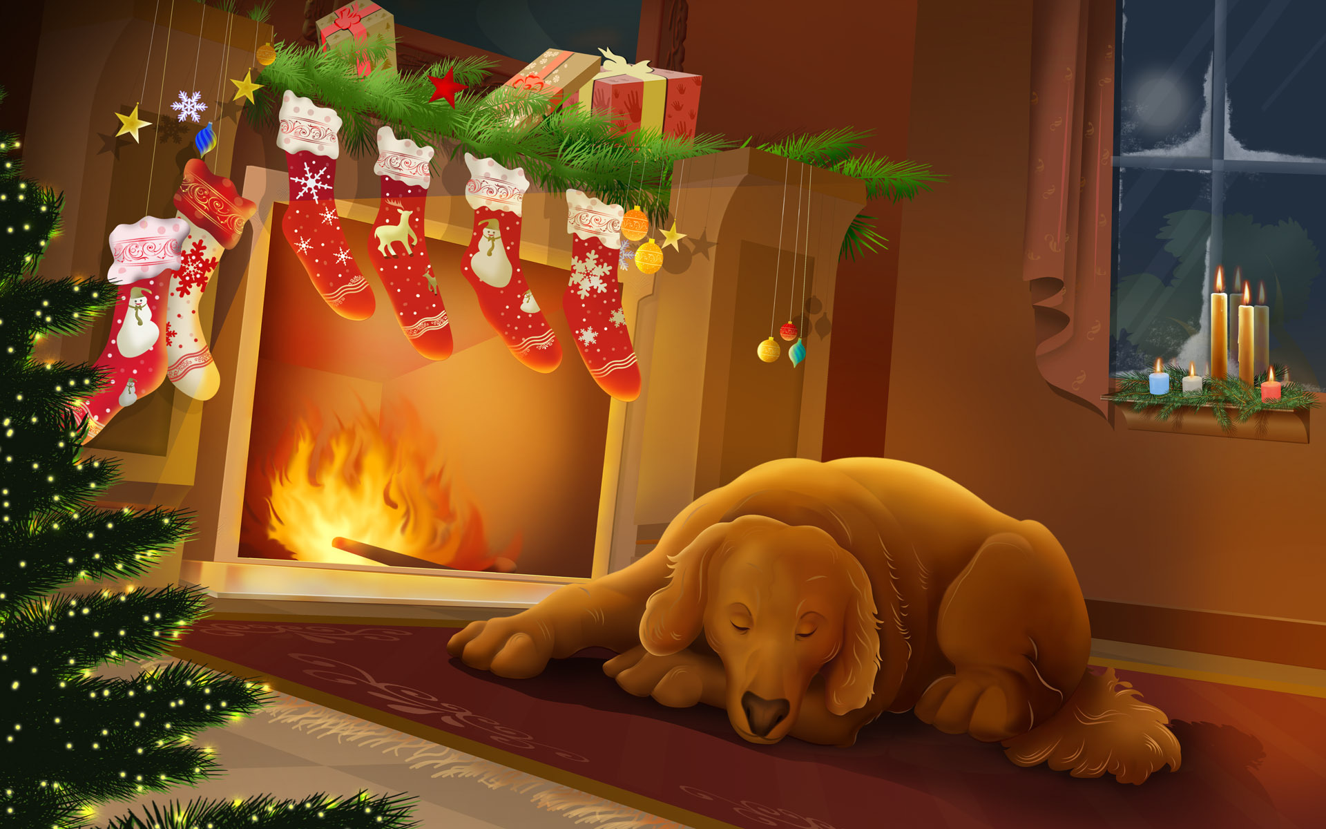14098 download wallpaper Holidays, Dogs, New Year, Christmas, Xmas, Pictures screensavers and pictures for free