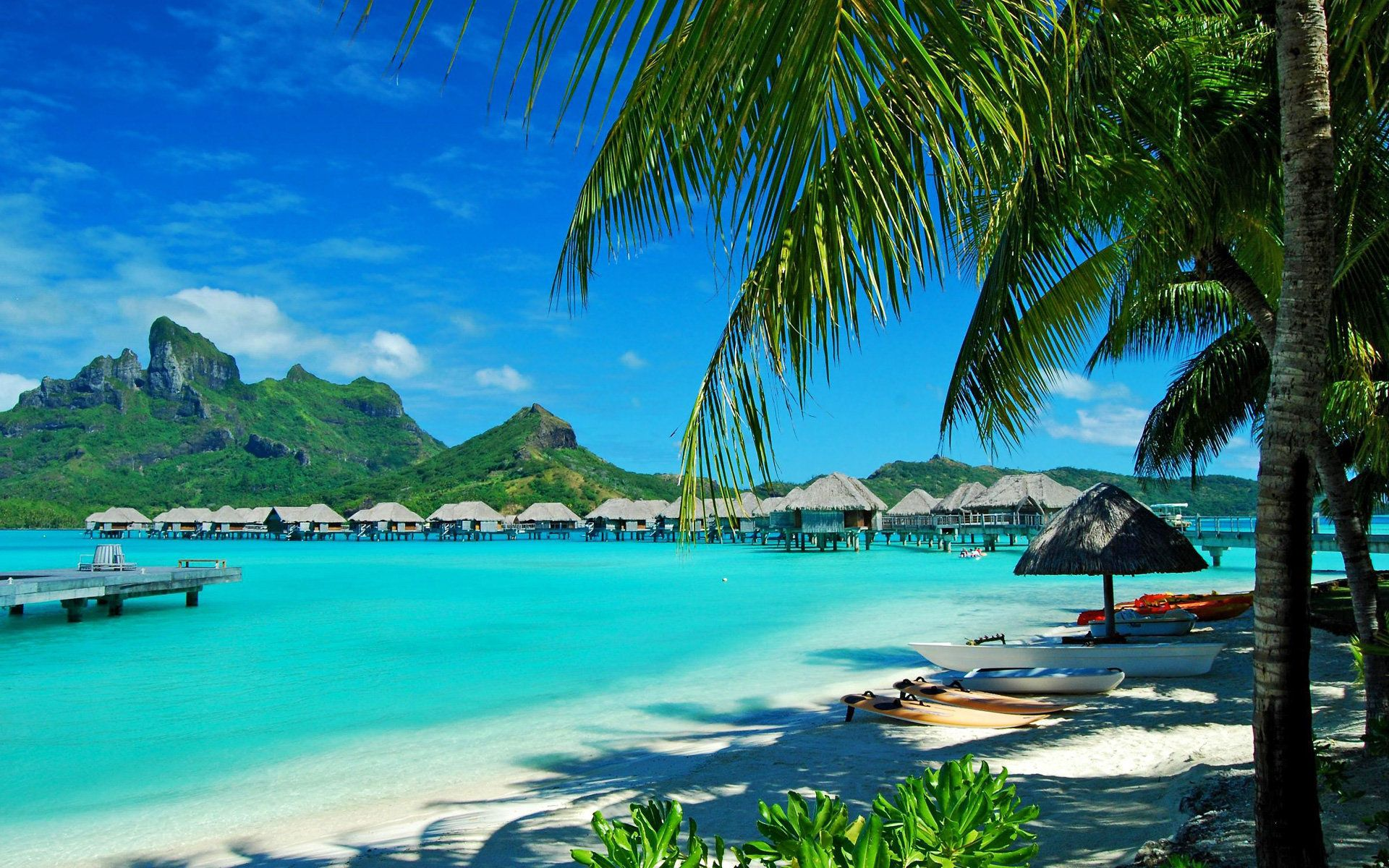 136987 скачать обои Пальмы, Берег, Природа, Отдых, Лагуна, Гавайи, Курорт, Голубая Вода - заставки и картинки бесплатно
