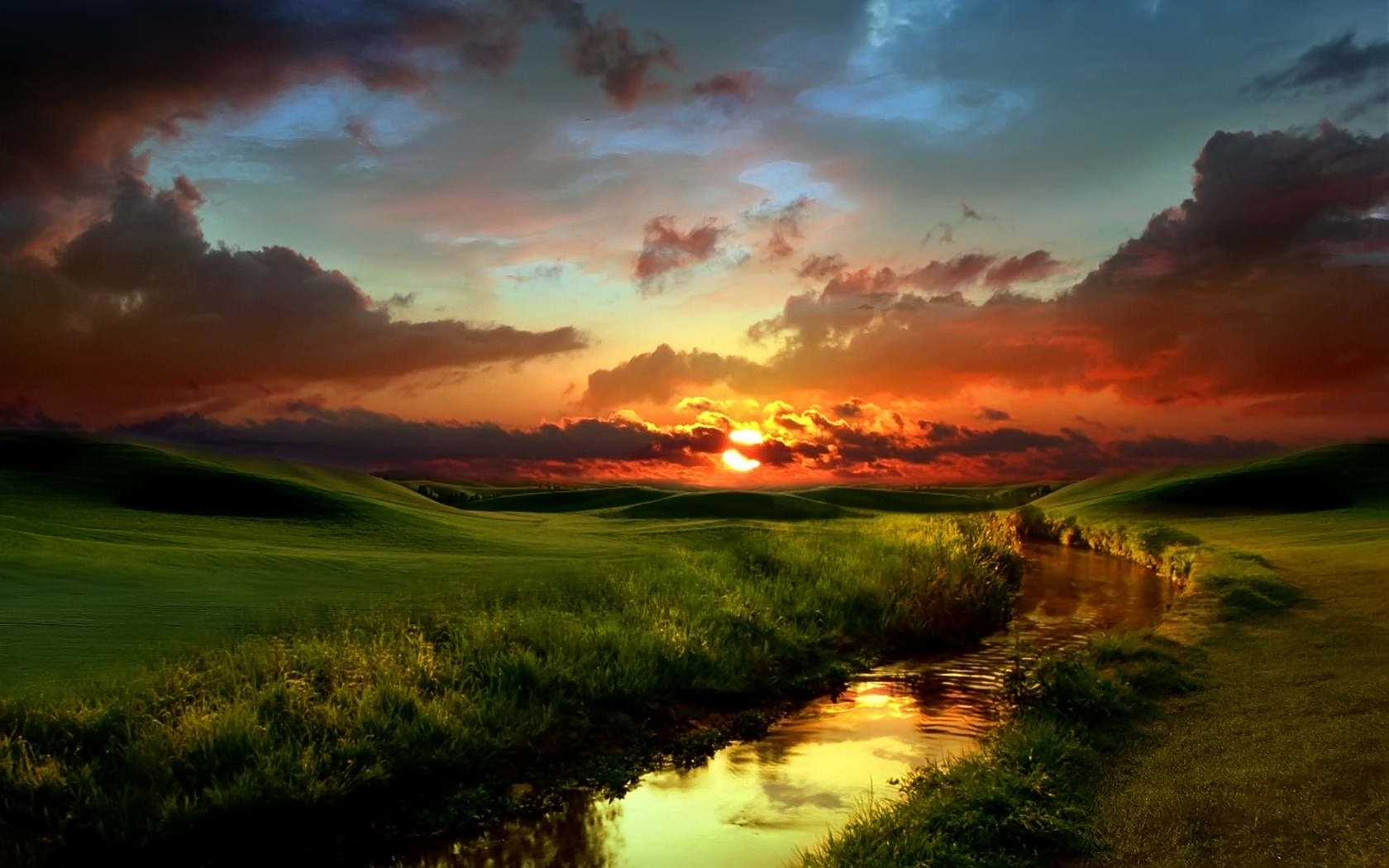 8002 Hintergrundbild herunterladen Landschaft, Flüsse, Sunset, Grass, Sky, Fotokunst, Clouds - Bildschirmschoner und Bilder kostenlos