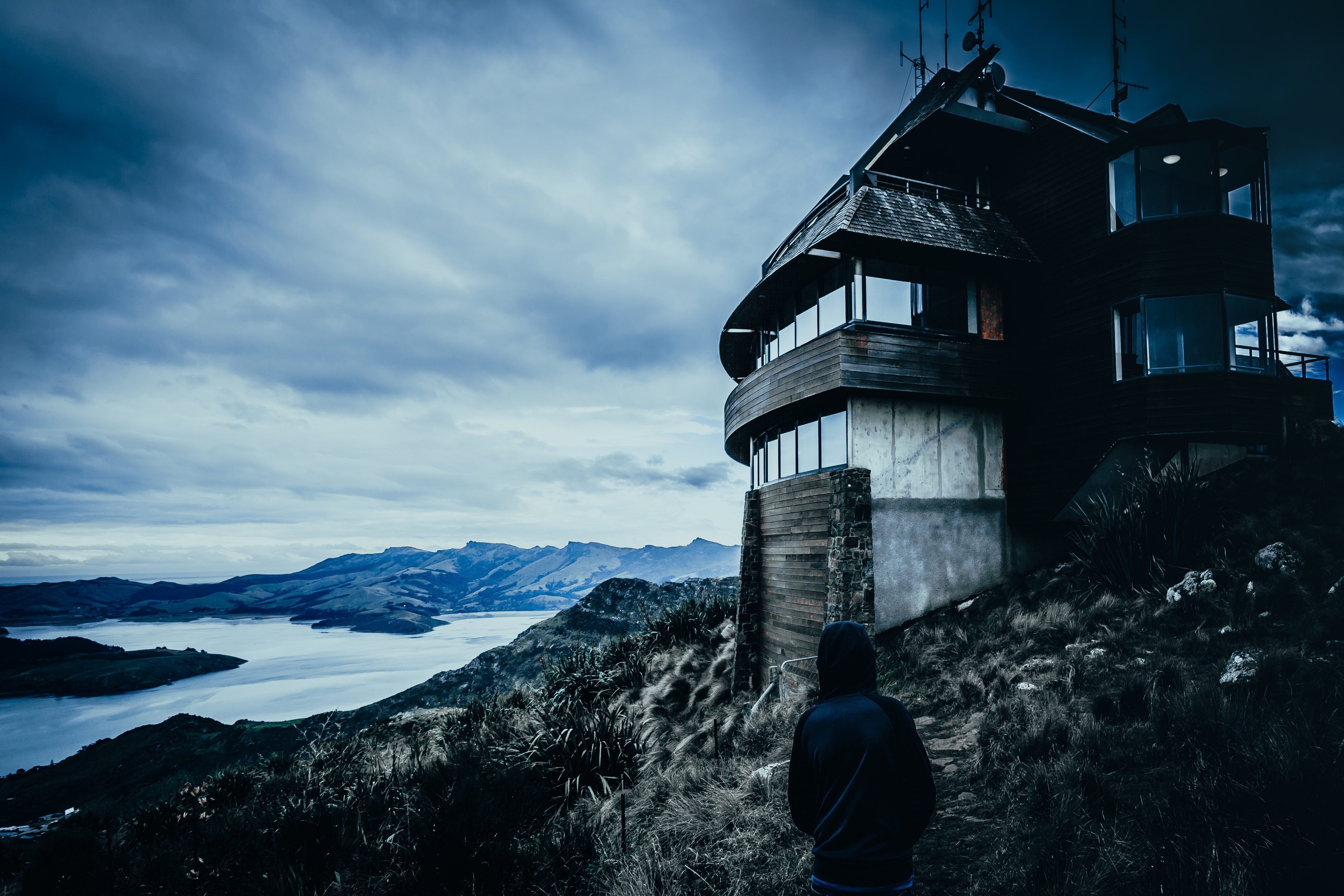157808 Screensavers and Wallpapers New Zealand for phone. Download Mountains, New Zealand, Dark, Privacy, Seclusion, House, Human, Person, Loneliness, Hood, Christchurch pictures for free