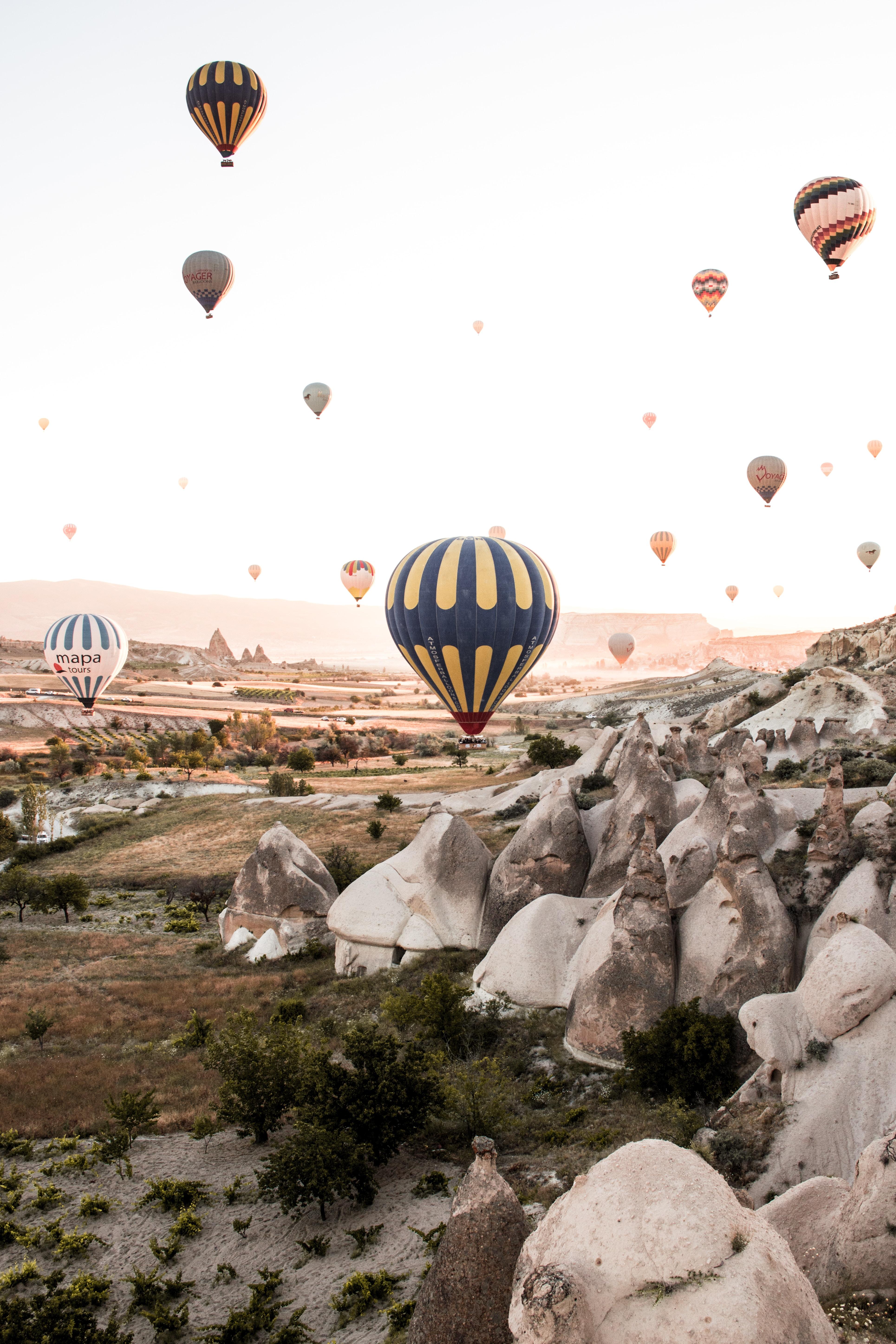 118849 скачать обои Скалы, Вид Сверху, Природа, Горы, Воздушные Шары - заставки и картинки бесплатно