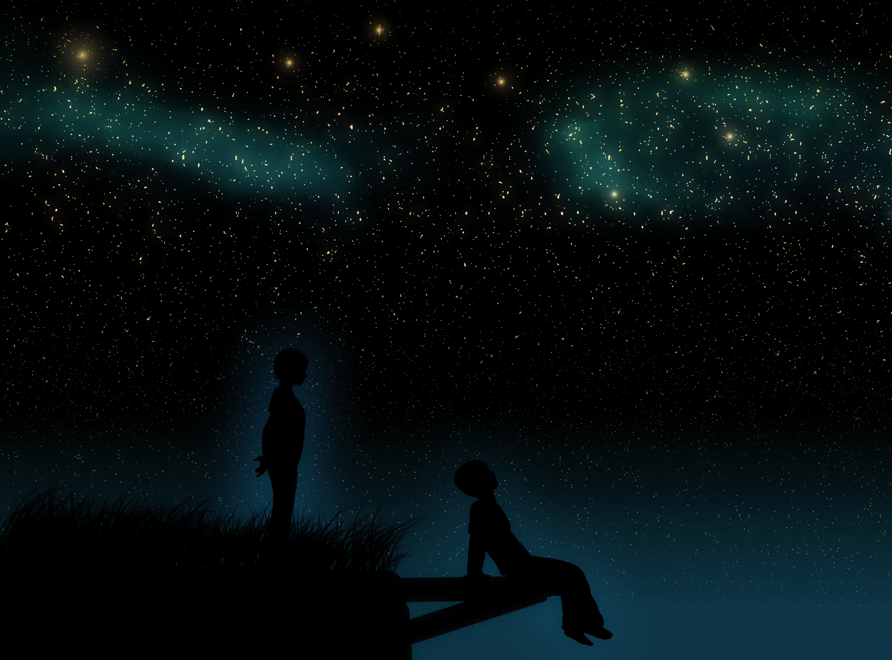60157 Screensavers and Wallpapers Children for phone. Download Art, Starry Sky, Children, Silhouettes, Dreamers pictures for free