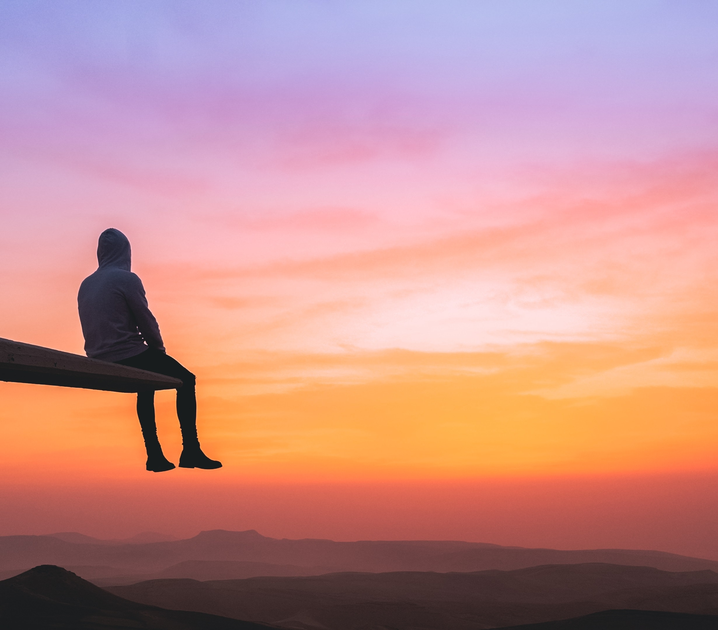 71064 Screensavers and Wallpapers Human for phone. Download Loneliness, Sunset, Mountains, Privacy, Seclusion, Miscellanea, Miscellaneous, Overview, Review, Height, Human, Person pictures for free