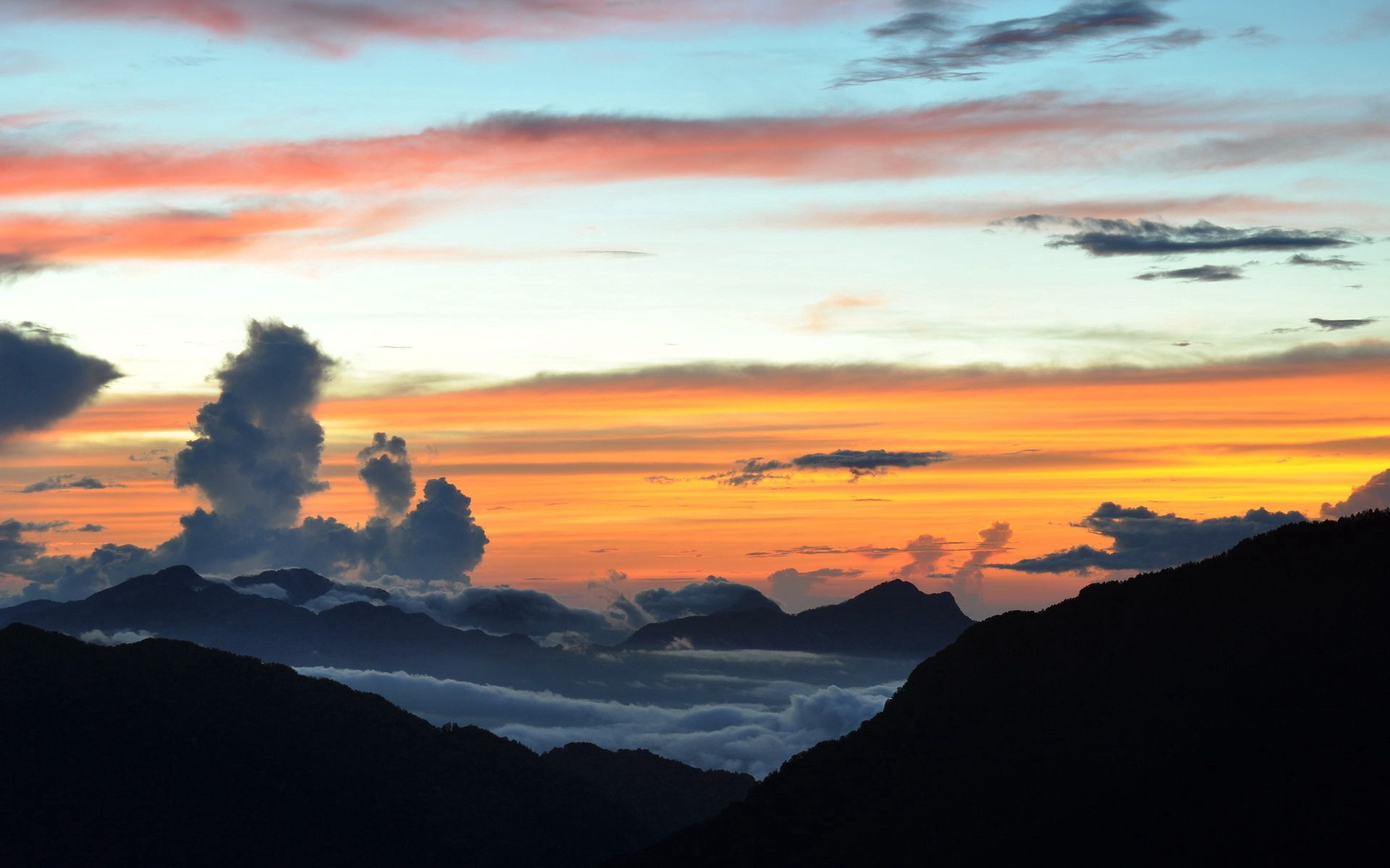 96534 download wallpaper Nature, Clouds, Layers, Height, Colors, Color, Shades, Paints, Sunset, Evening, Mountains screensavers and pictures for free