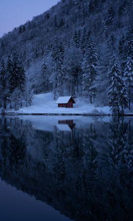 155936 Salvapantallas y fondos de pantalla Nieve en tu teléfono. Descarga imágenes de Naturaleza, Lago, Bosque, Nieve, Invierno, Árboles gratis