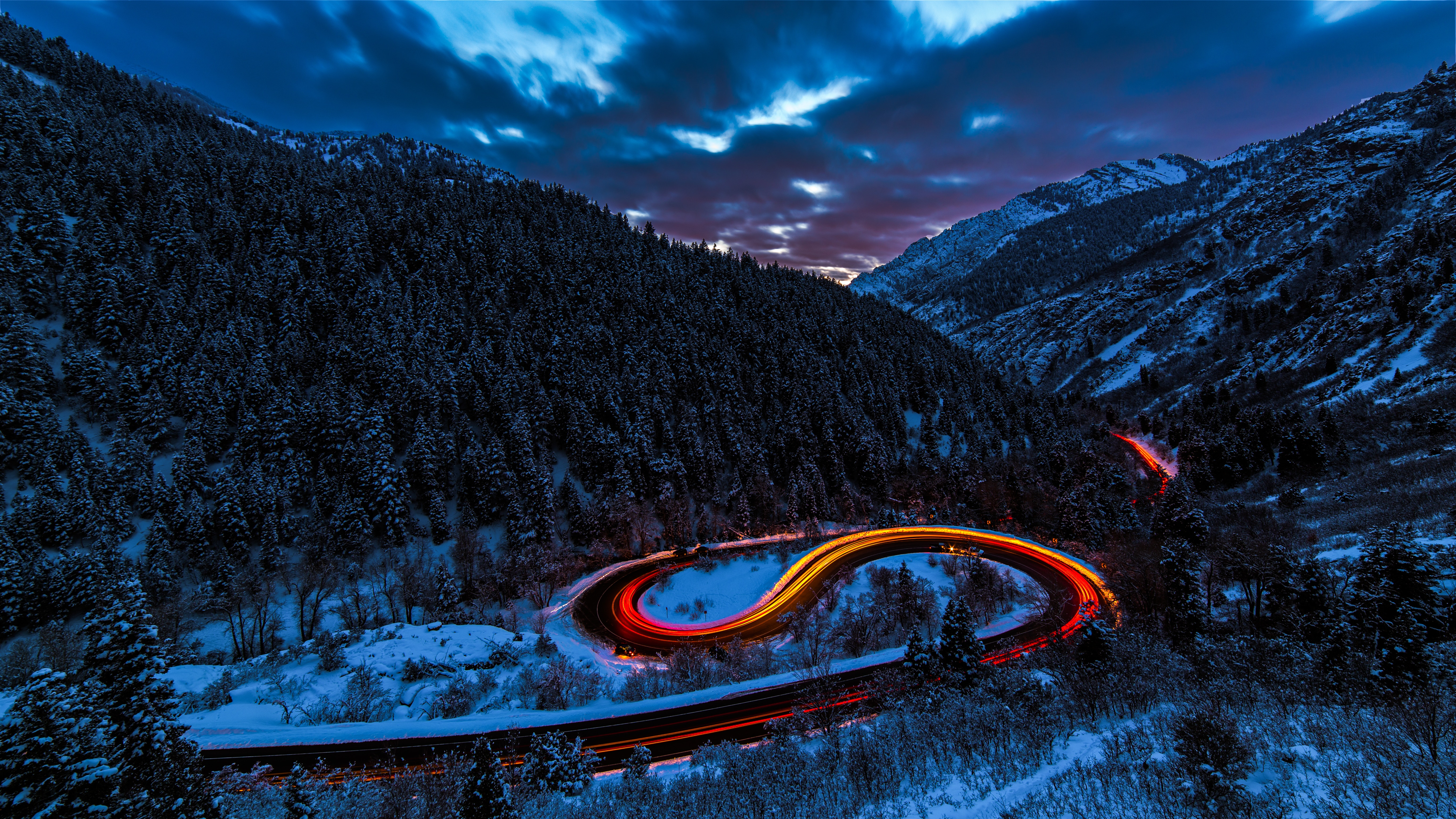 92610 download wallpaper Nature, Road, Shine, Light, Sky, Forest, Snow, Mountains screensavers and pictures for free