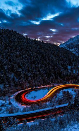 92610 Salvapantallas y fondos de pantalla Nieve en tu teléfono. Descarga imágenes de Naturaleza, Camino, Brillar, Luz, Cielo, Bosque, Nieve, Montañas gratis