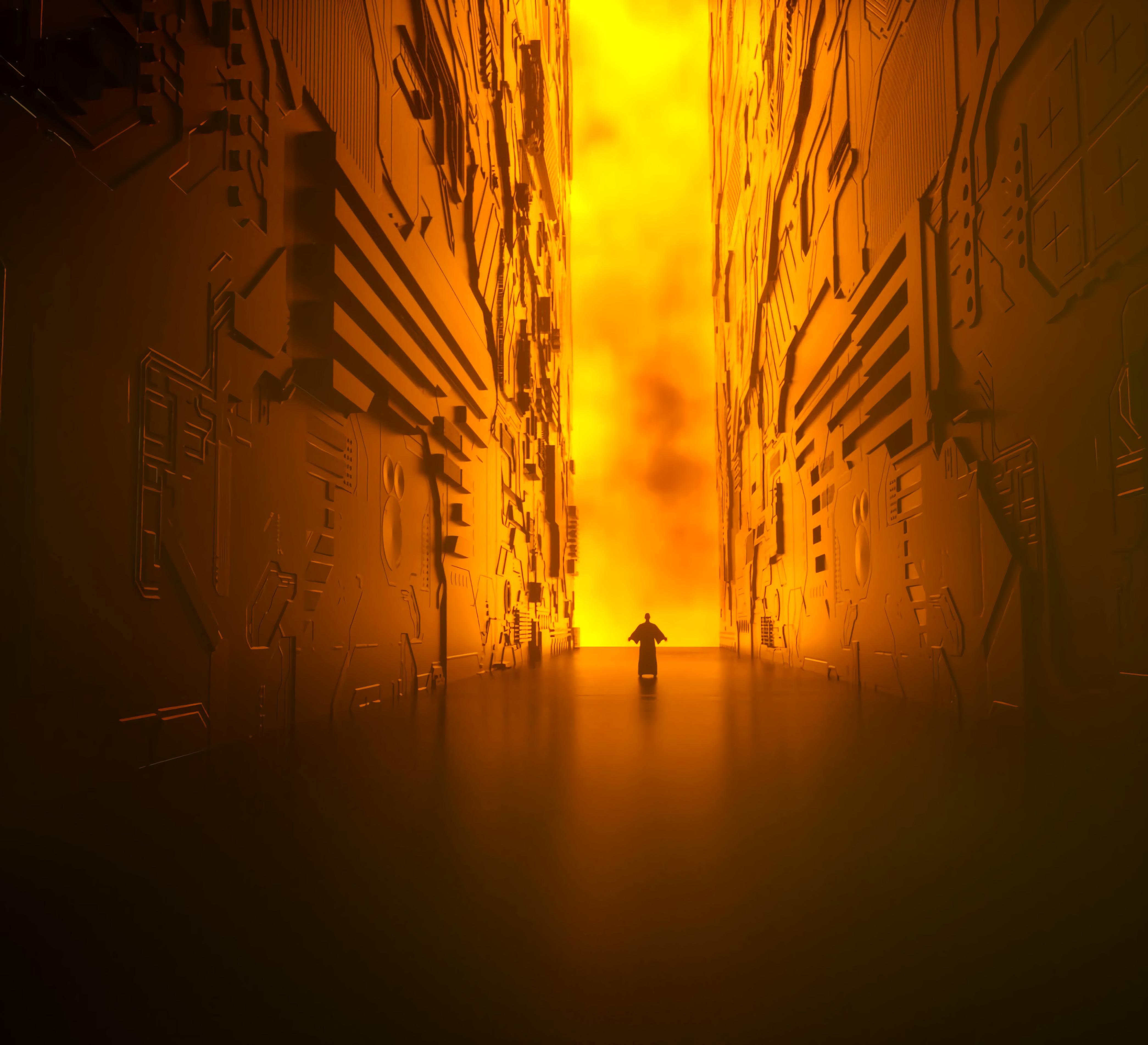 106568 免費下載壁紙 杂项, 走廊, 轮廓, 剪影, 辉光, 发光, 火, 闪耀, 光, 墙 屏保和圖片