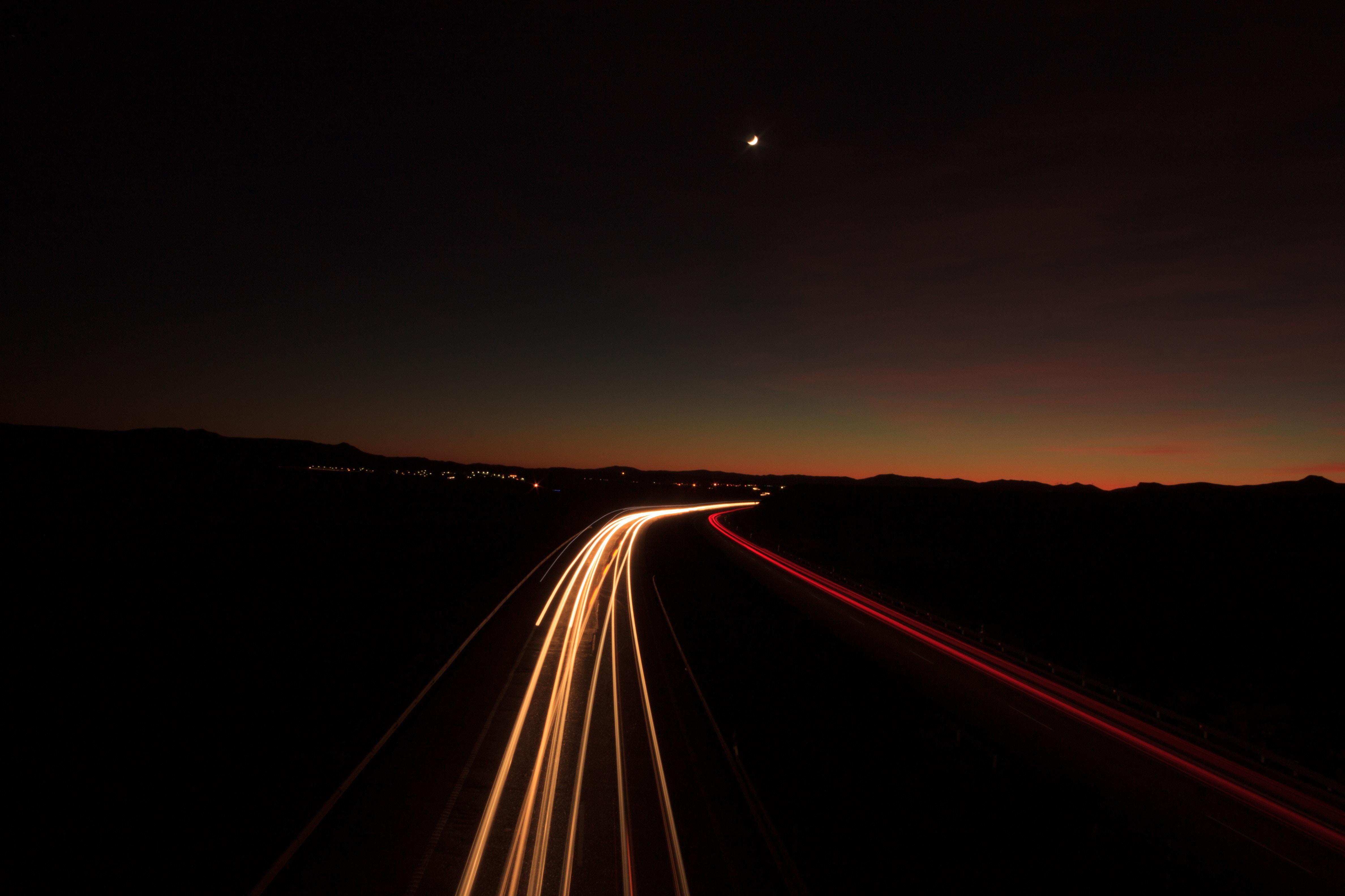 95287 télécharger le fond d'écran Sombre, Route, Briller, Lumière, Tour, Tourner - économiseurs d'écran et images gratuitement