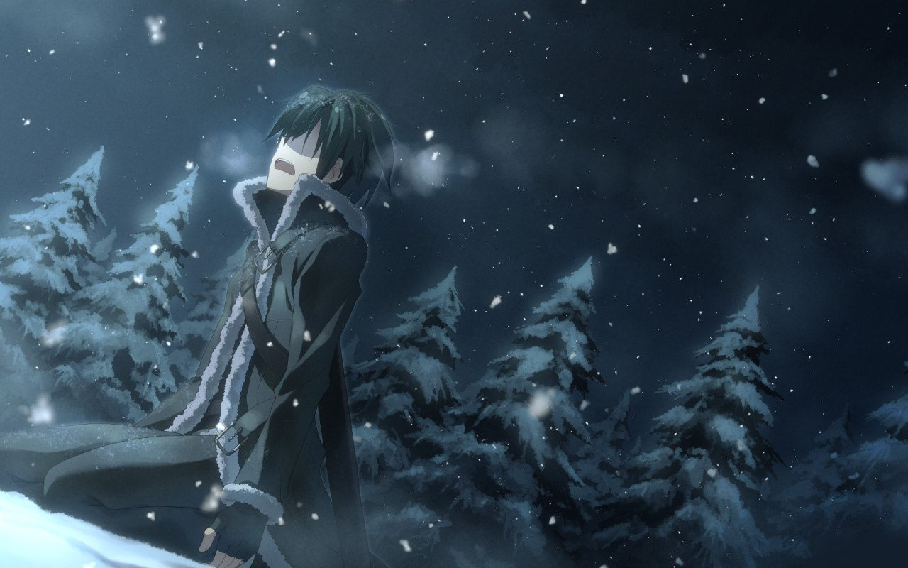 19387 download wallpaper Anime, Winter, Men, Snow screensavers and pictures for free