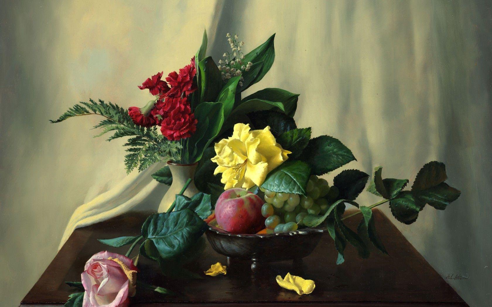 149829 免費下載壁紙 食物, 图片, 静物, 茶几, 桌子, 康乃馨, 蕨类, 铁杉, 花卉, 水果, 玫瑰, 苹果, 浆果, 铃兰 屏保和圖片