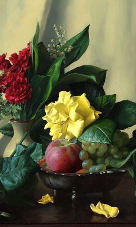 149829 baixar papel de parede Comida, Foto, Imagem, Natureza Morta, Mesa De Apoio, Mesa, Cravos, Samambaia, Flores, Frutas, Rosas, Maçãs, Berries, Lìrio Do Vale - protetores de tela e imagens gratuitamente