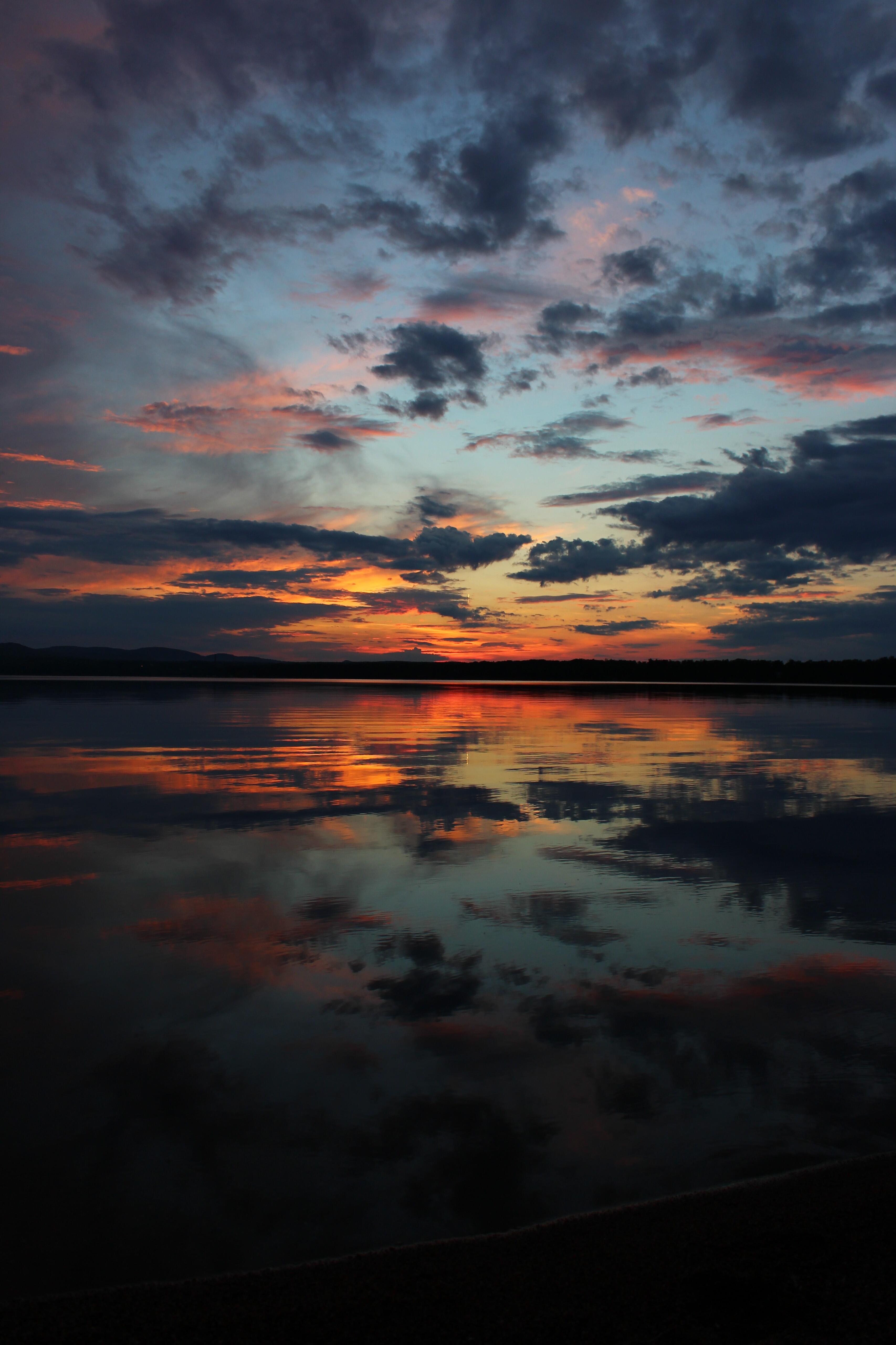 85098 Hintergrundbild 720x1280 kostenlos auf deinem Handy, lade Bilder Natur, Flüsse, Sunset, Sky, Horizont 720x1280 auf dein Handy herunter