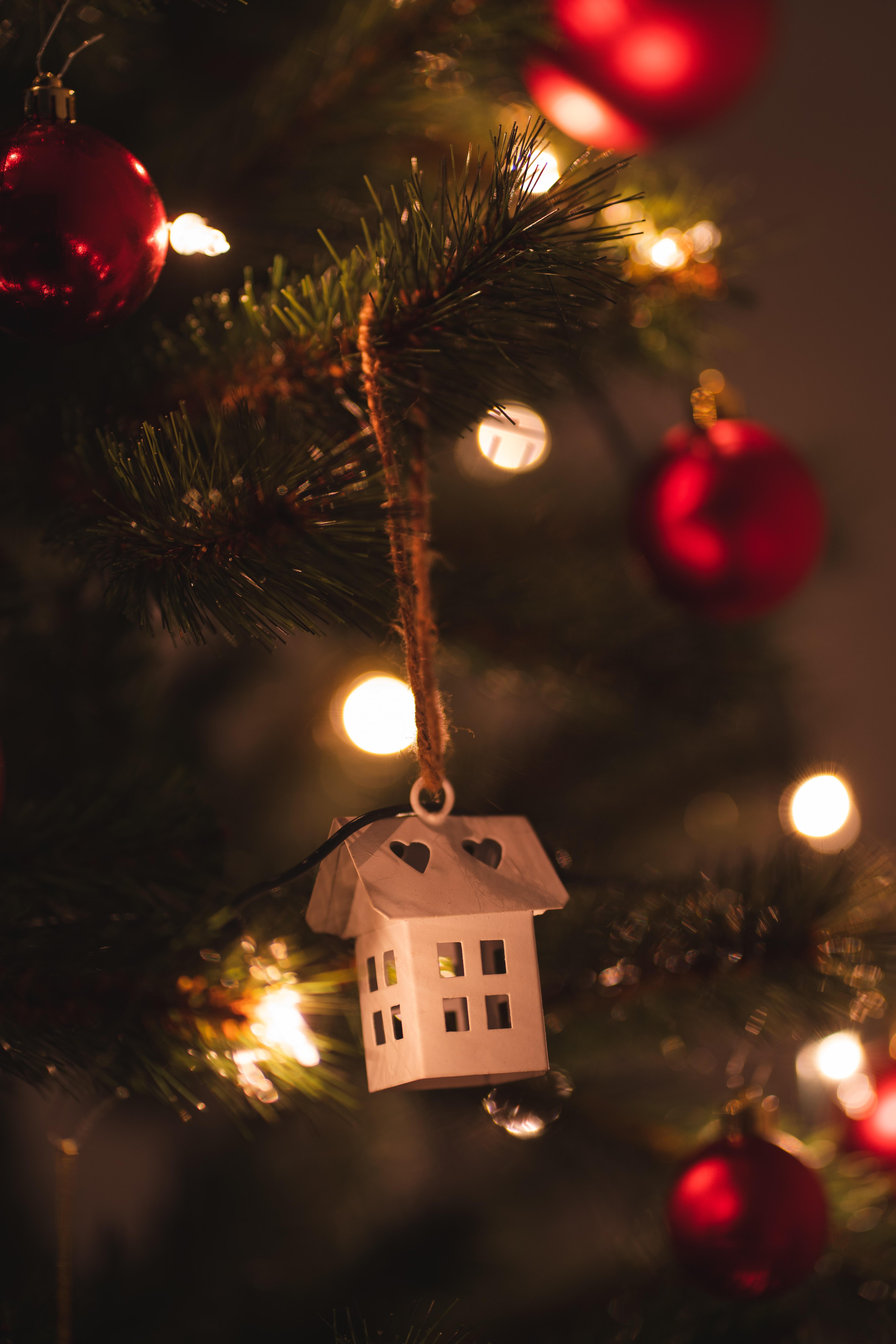 142619 скачать обои Домик, Праздники, Рождество, Новый Год, Елка, Украшение, Гирлянды - заставки и картинки бесплатно