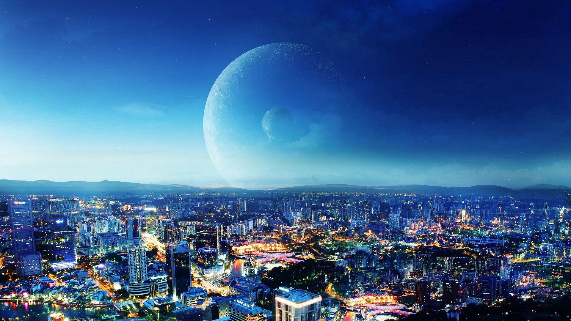 66475 скачать обои Планеты, Города, Город, Вечер - заставки и картинки бесплатно