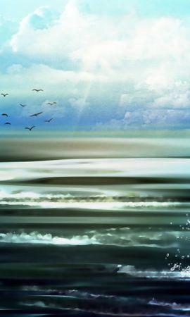 21561 скачать обои Пейзаж, Облака, Рисунки, Озера - заставки и картинки бесплатно