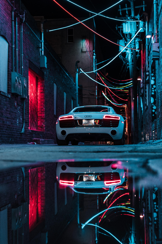 53698 скачать обои Ауди (Audi), Неон, Автомобиль, Audi R8, Спорткар, Тачки (Cars), Белый - заставки и картинки бесплатно