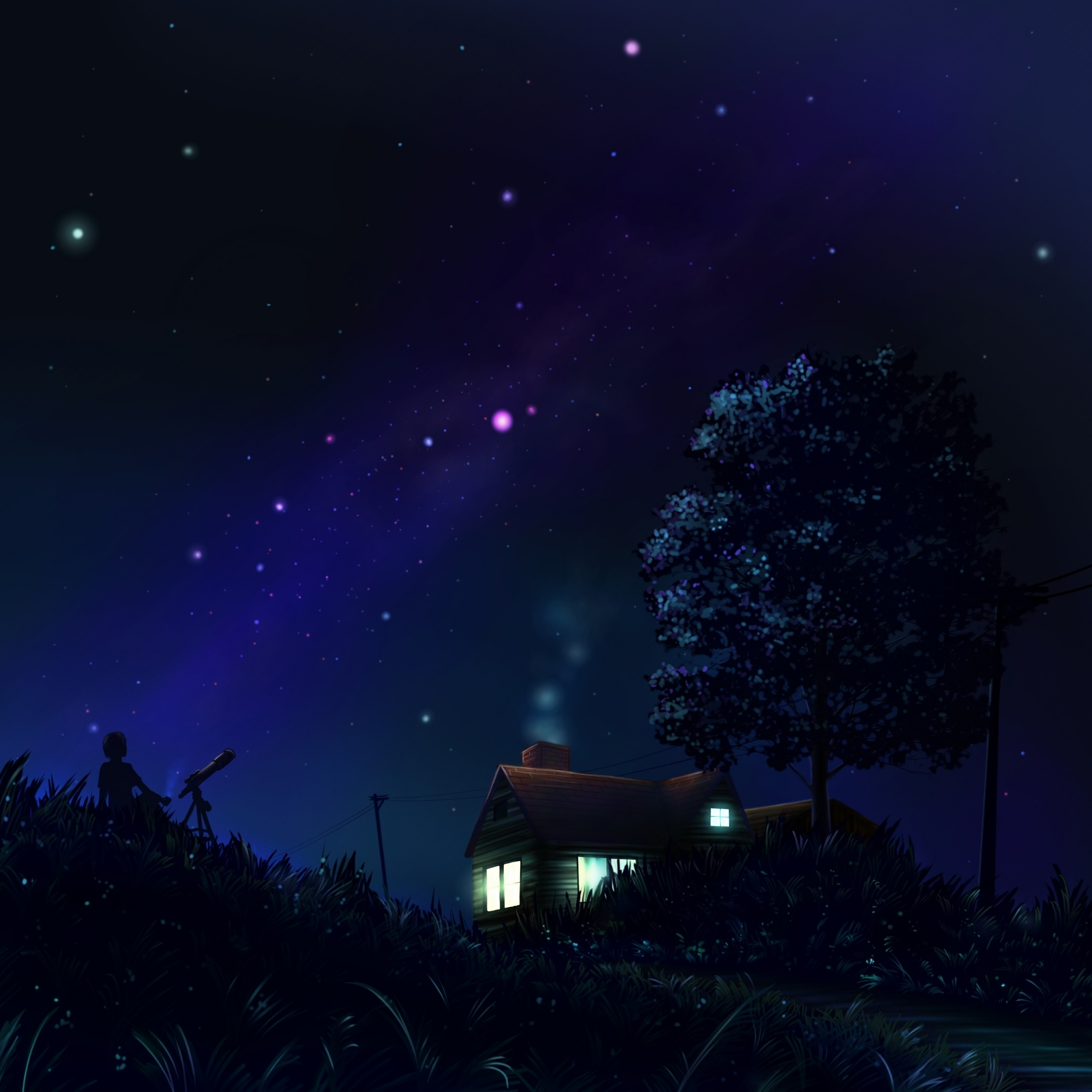 92330 download wallpaper Night, Art, Stars, Silhouette, House screensavers and pictures for free