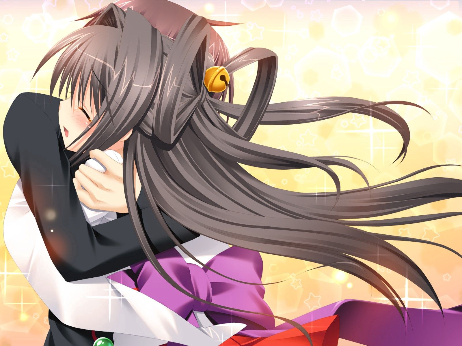 81058 Screensavers and Wallpapers Brunette for phone. Download Anime, Girl, Tenderness, Guy, Embrace, Brunette pictures for free