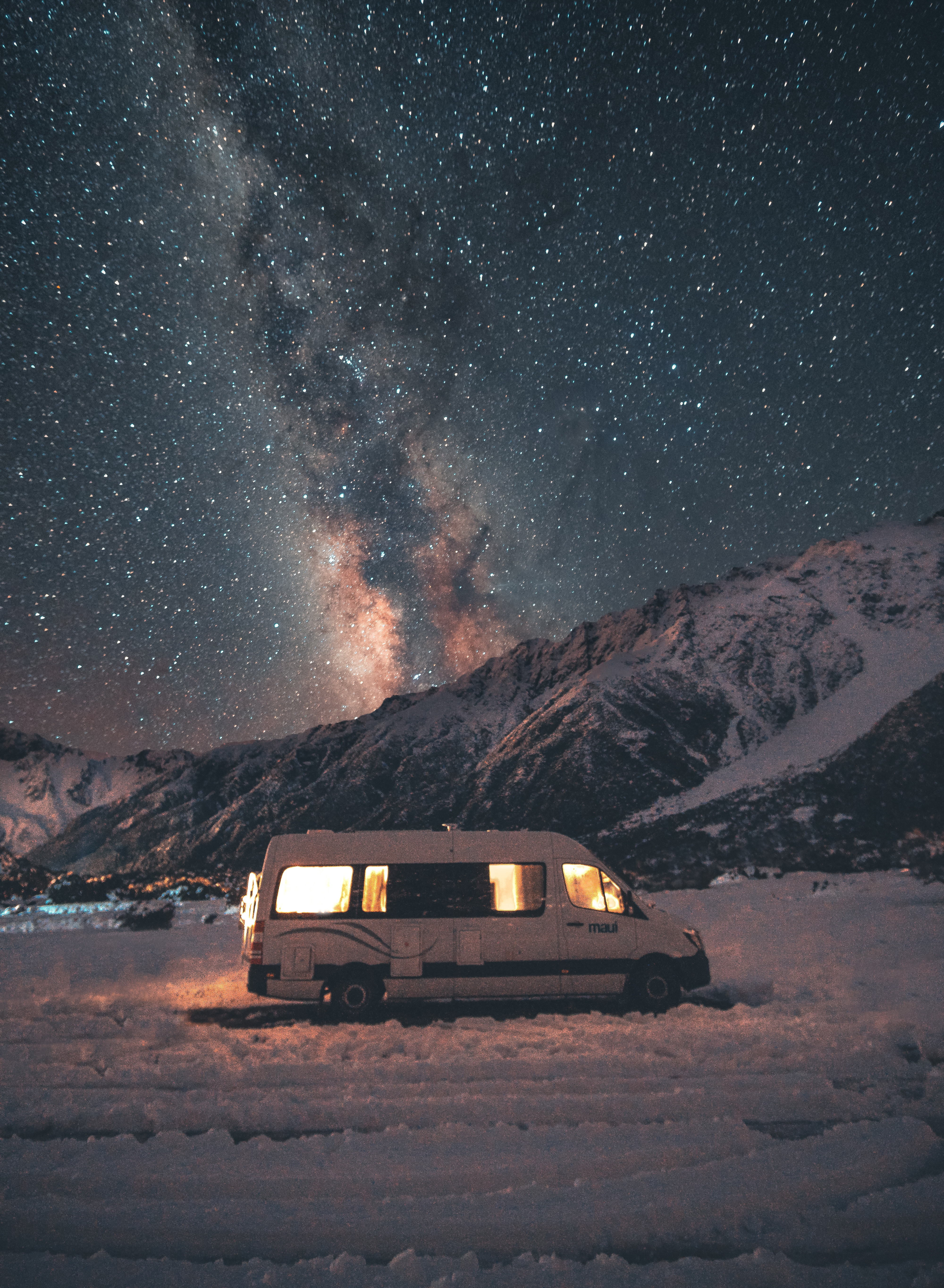 76807 download wallpaper Landscape, Nature, Mountains, Night, Starry Sky, Journey, Van screensavers and pictures for free