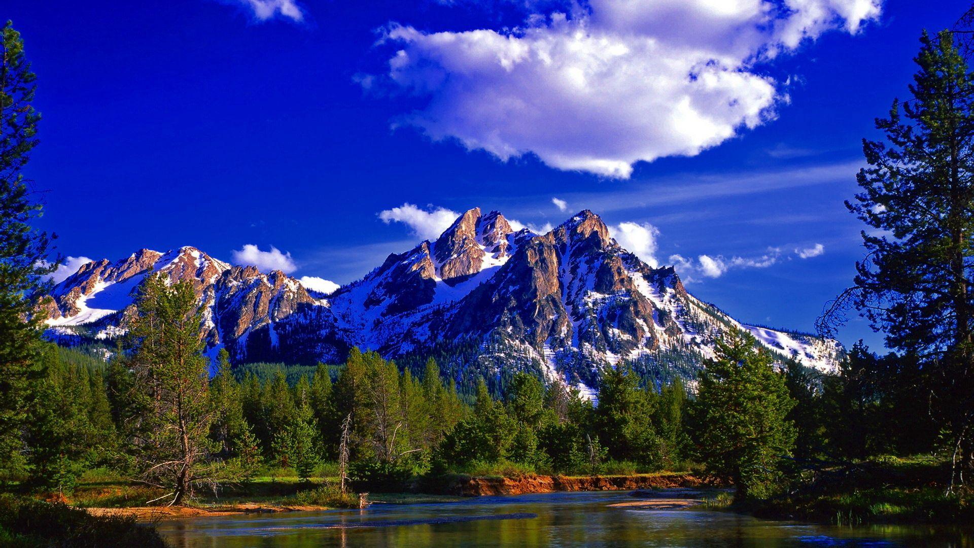 132115 скачать обои Природа, Пейзаж, Лес, Озеро, Лето, День, Гора, Вершина, Пик - заставки и картинки бесплатно
