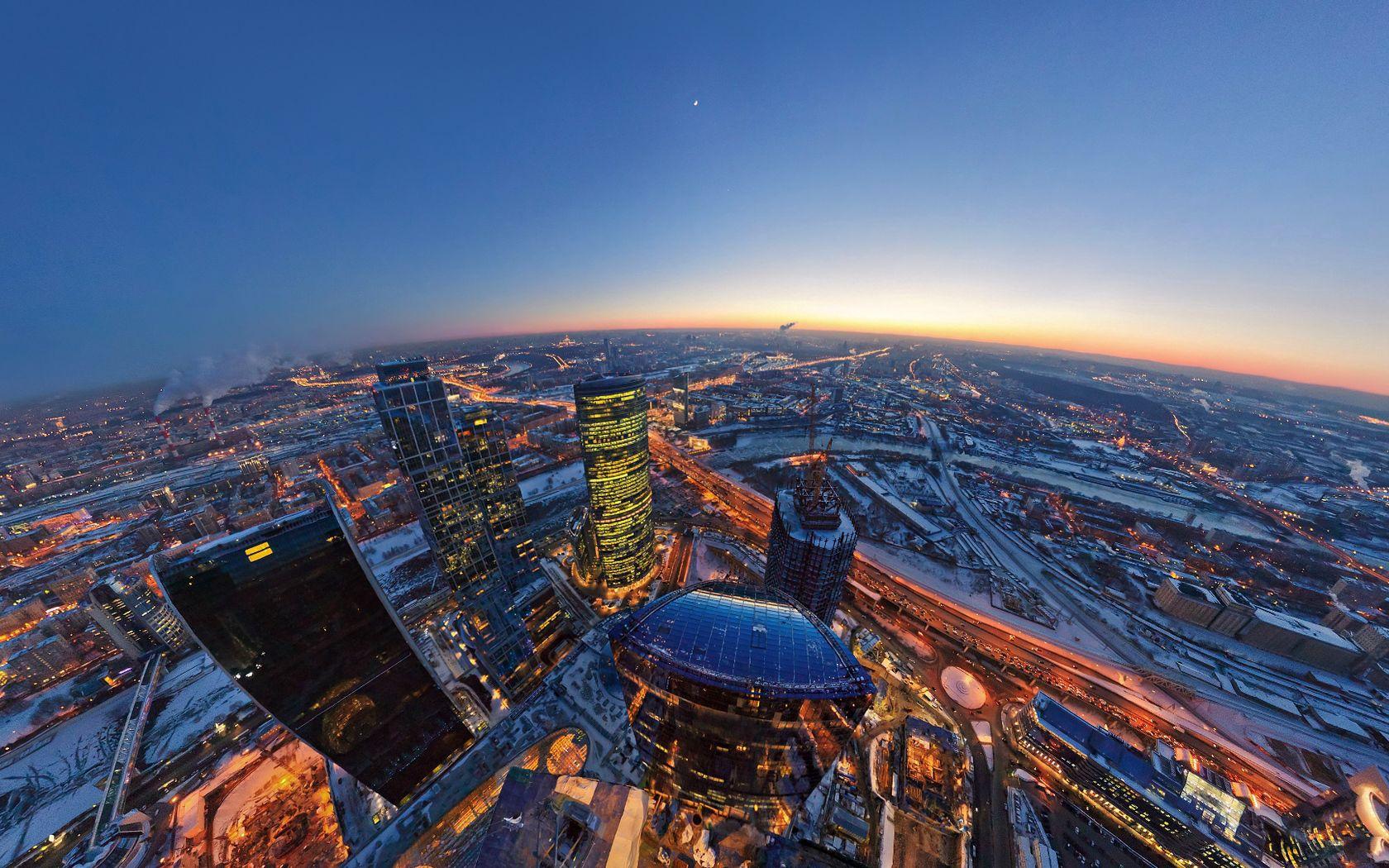 144441 скачать обои Москва, Города, Луна, Огни, Горизонт, Вечер, Сити - заставки и картинки бесплатно