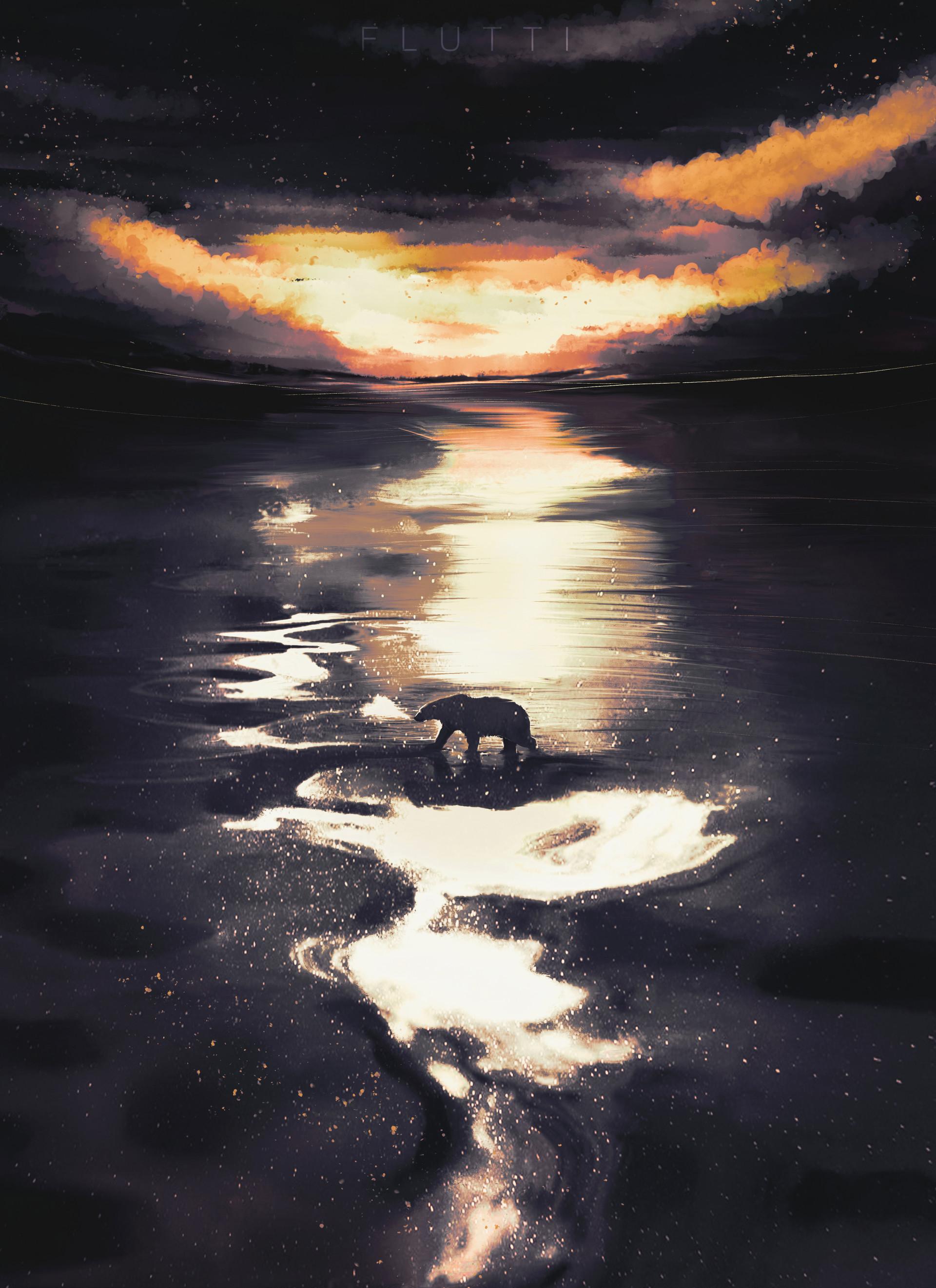 72779 скачать обои Белый Медведь, Медведь, Сумерки, Дикая Природа, Арт - заставки и картинки бесплатно