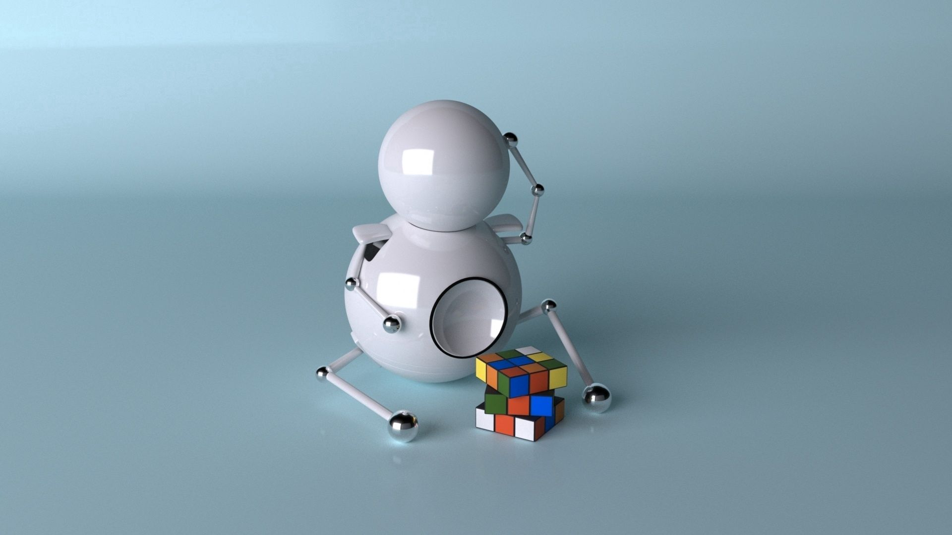 96751 Screensavers and Wallpapers Robot for phone. Download Robot, 3D, Cube, Rubik pictures for free