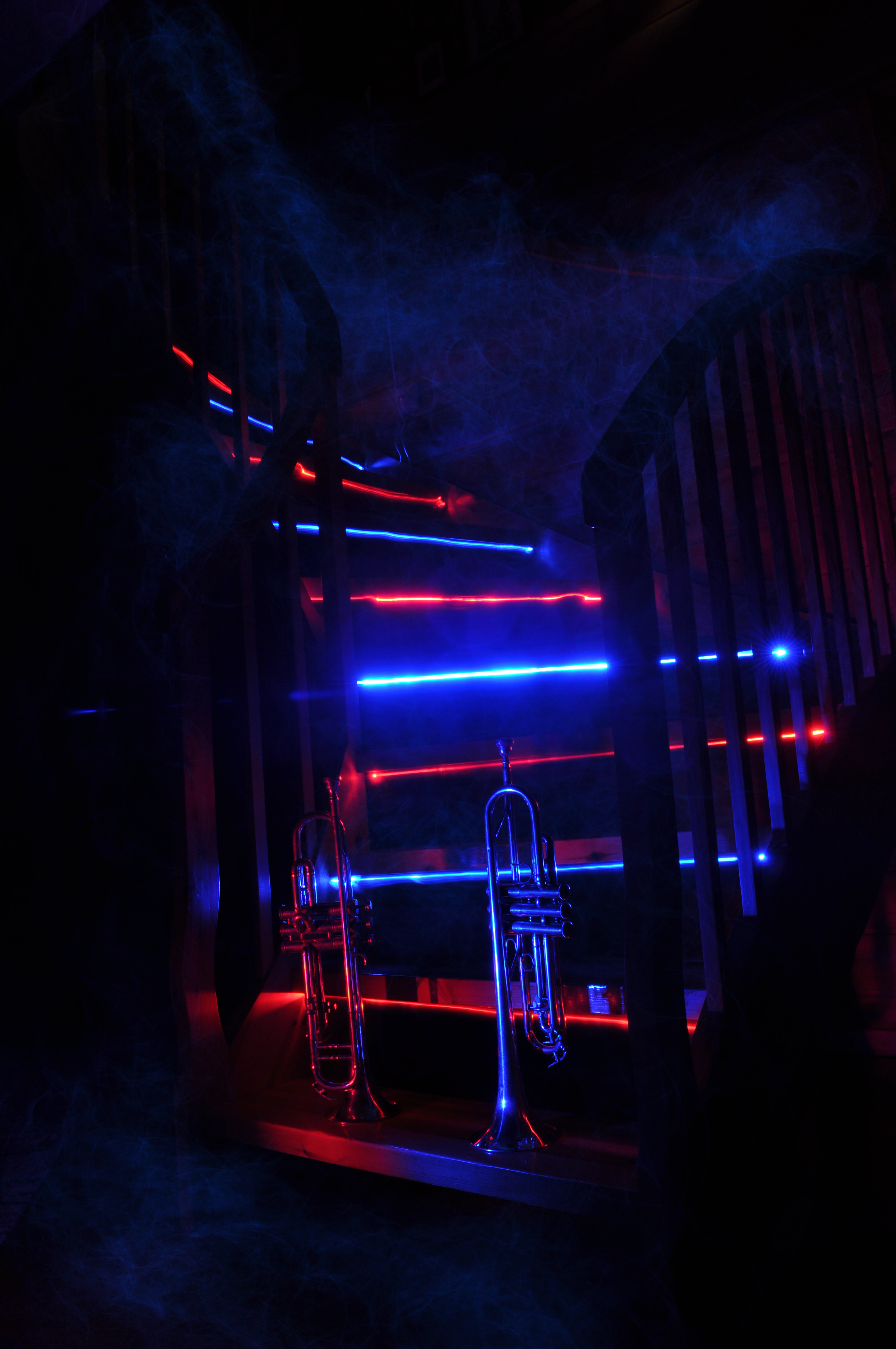 123795 download wallpaper Dark, Trumpet, Pipe, Stairs, Ladder, Neon, Backlight, Illumination, Smoke, Music screensavers and pictures for free