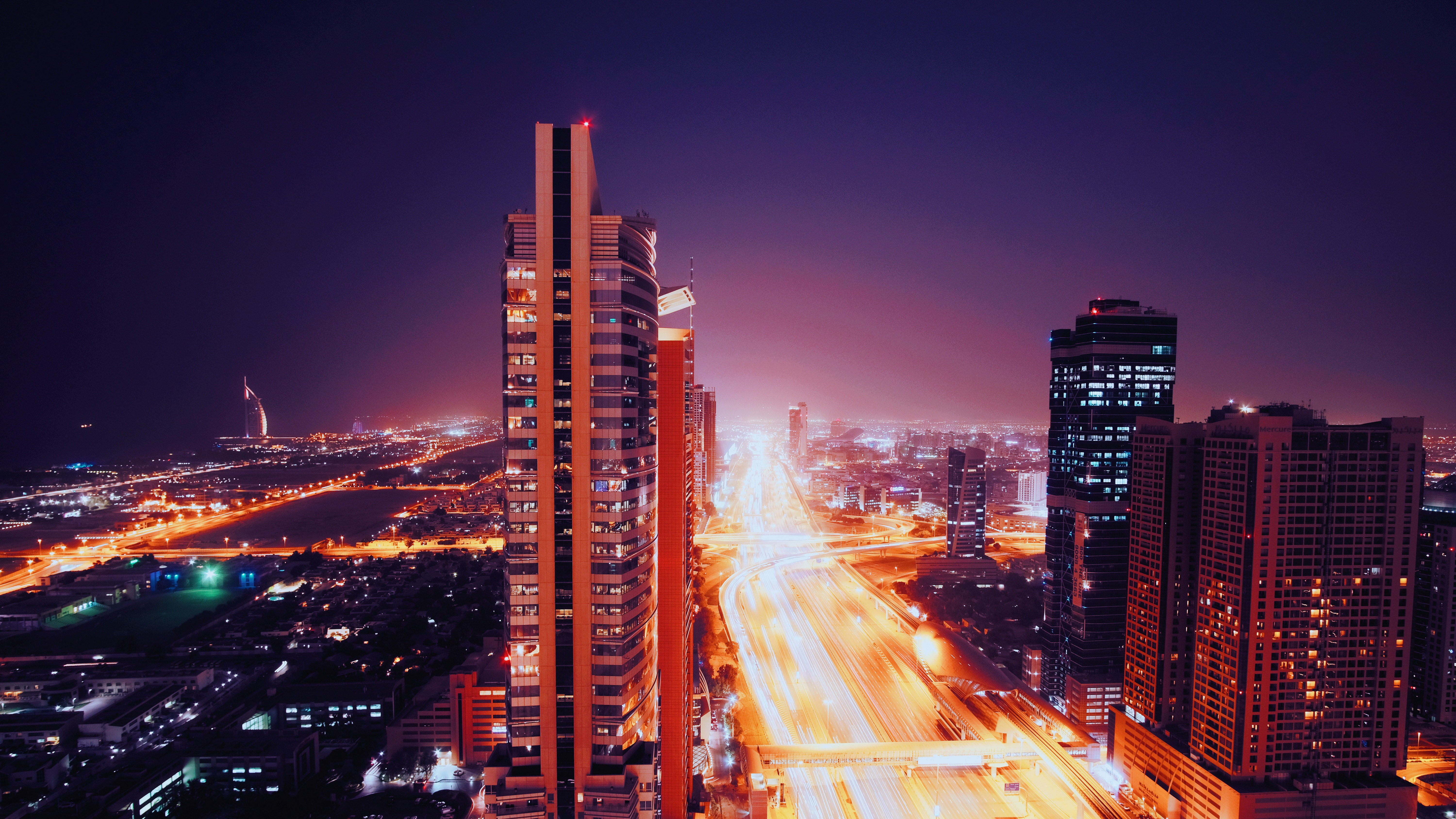 131010 download wallpaper Night City, City Lights, Dubai, United Arab Emirates, Architecture, Cities screensavers and pictures for free