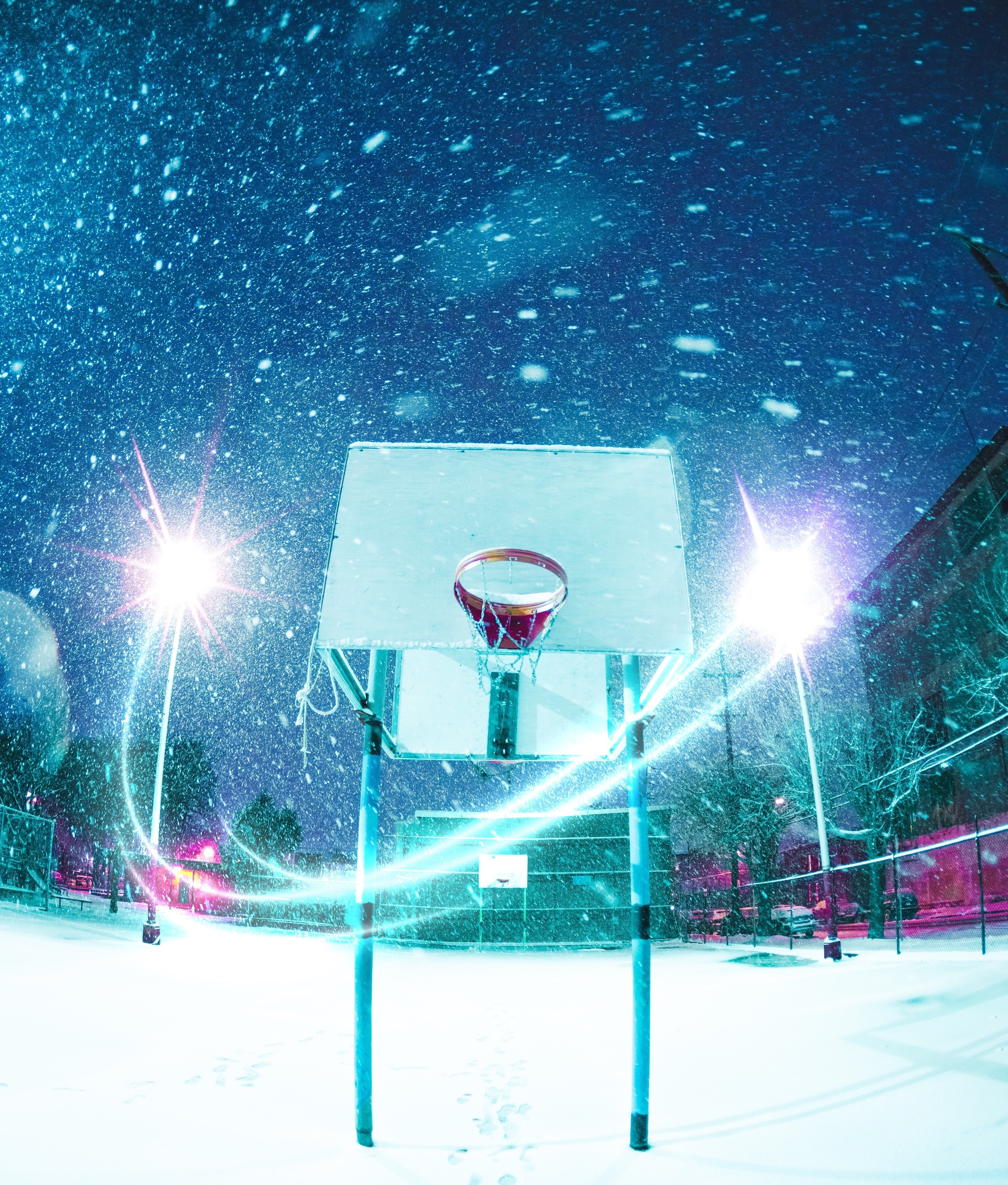 110743 Screensavers and Wallpapers Basketball for phone. Download Sports, Basketball Hoop, Basketball Ring, Basketball, Playground, Platform, Snow, Shine, Light pictures for free
