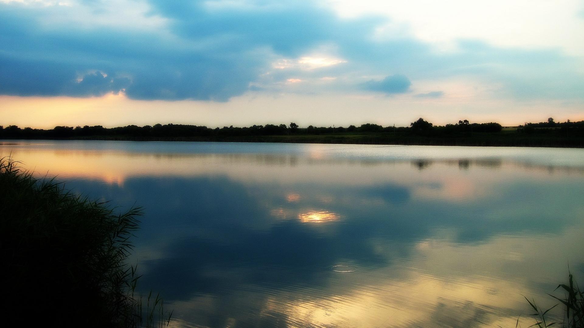 27747 скачать обои Пейзаж, Река, Закат, Облака - заставки и картинки бесплатно