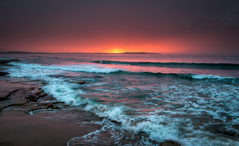 99803 Заставки и Обои Волны на телефон. Скачать Природа, Море, Горизонт, Закат, Пена, Прибой, Пляж, Волны картинки бесплатно