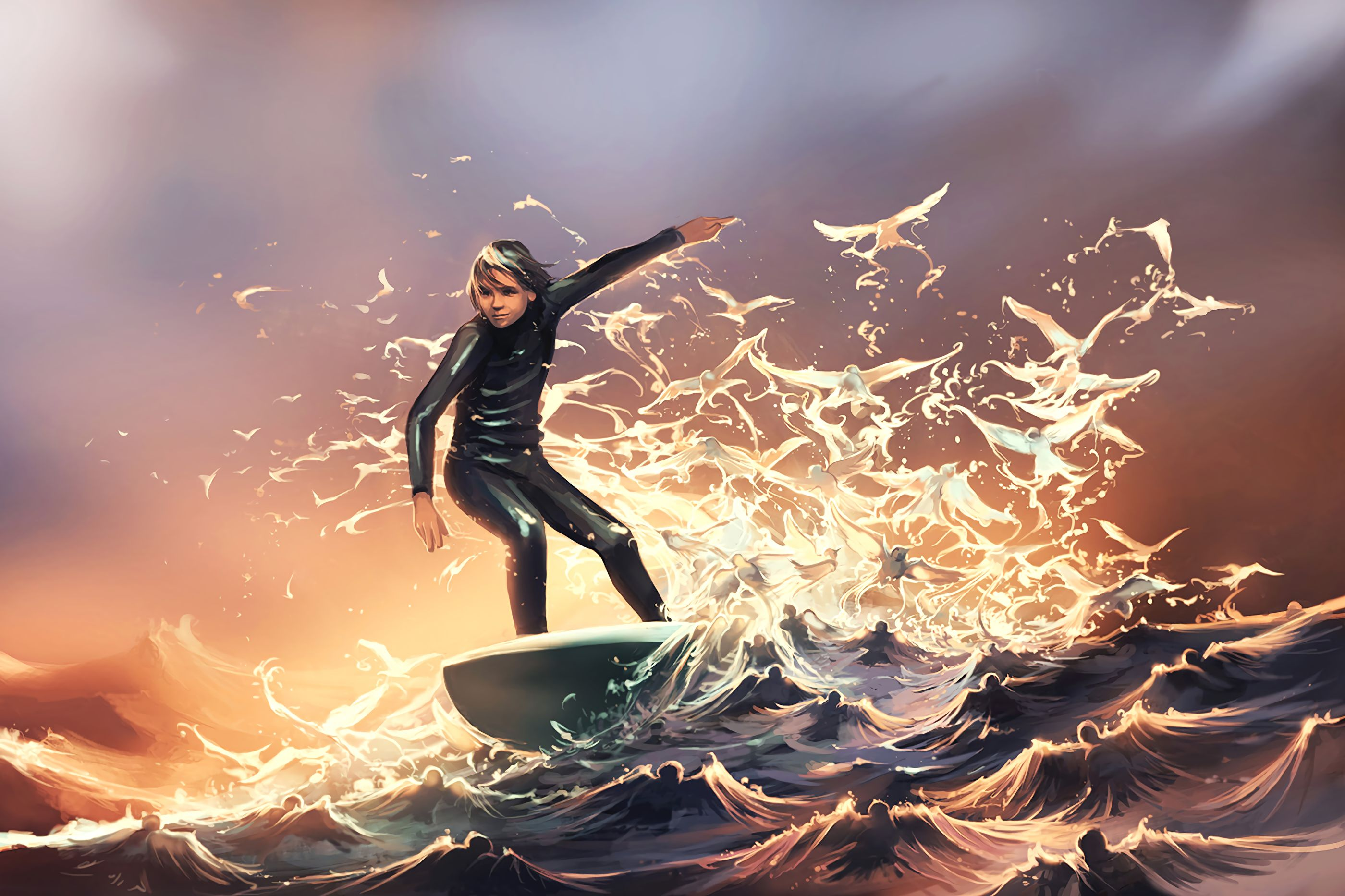 79399 download wallpaper Surfer, Serfing, Guy, Art, Waves screensavers and pictures for free