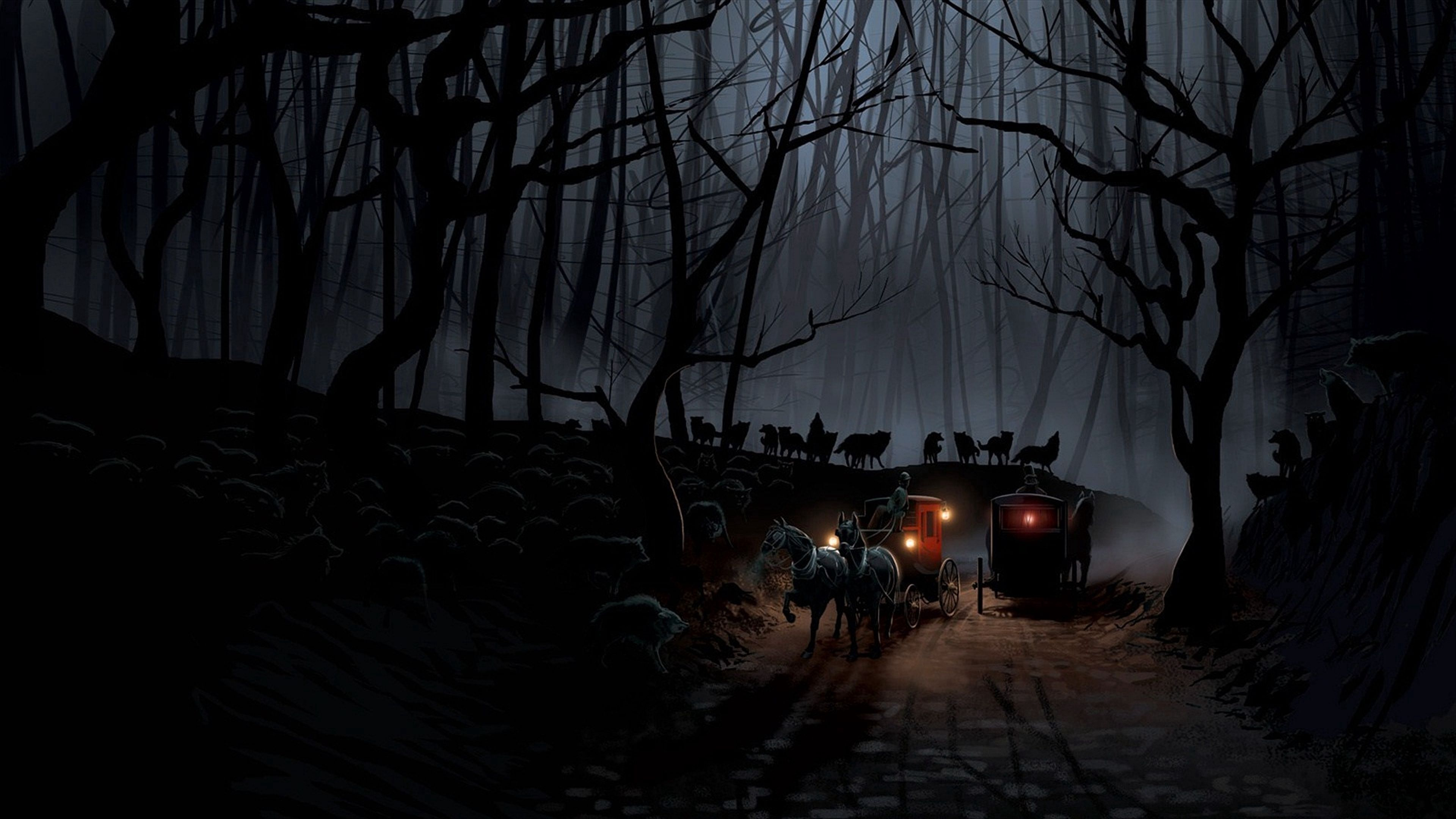 58472 download wallpaper Wolfs, Night, Dark, Forest, Flock, Coach screensavers and pictures for free