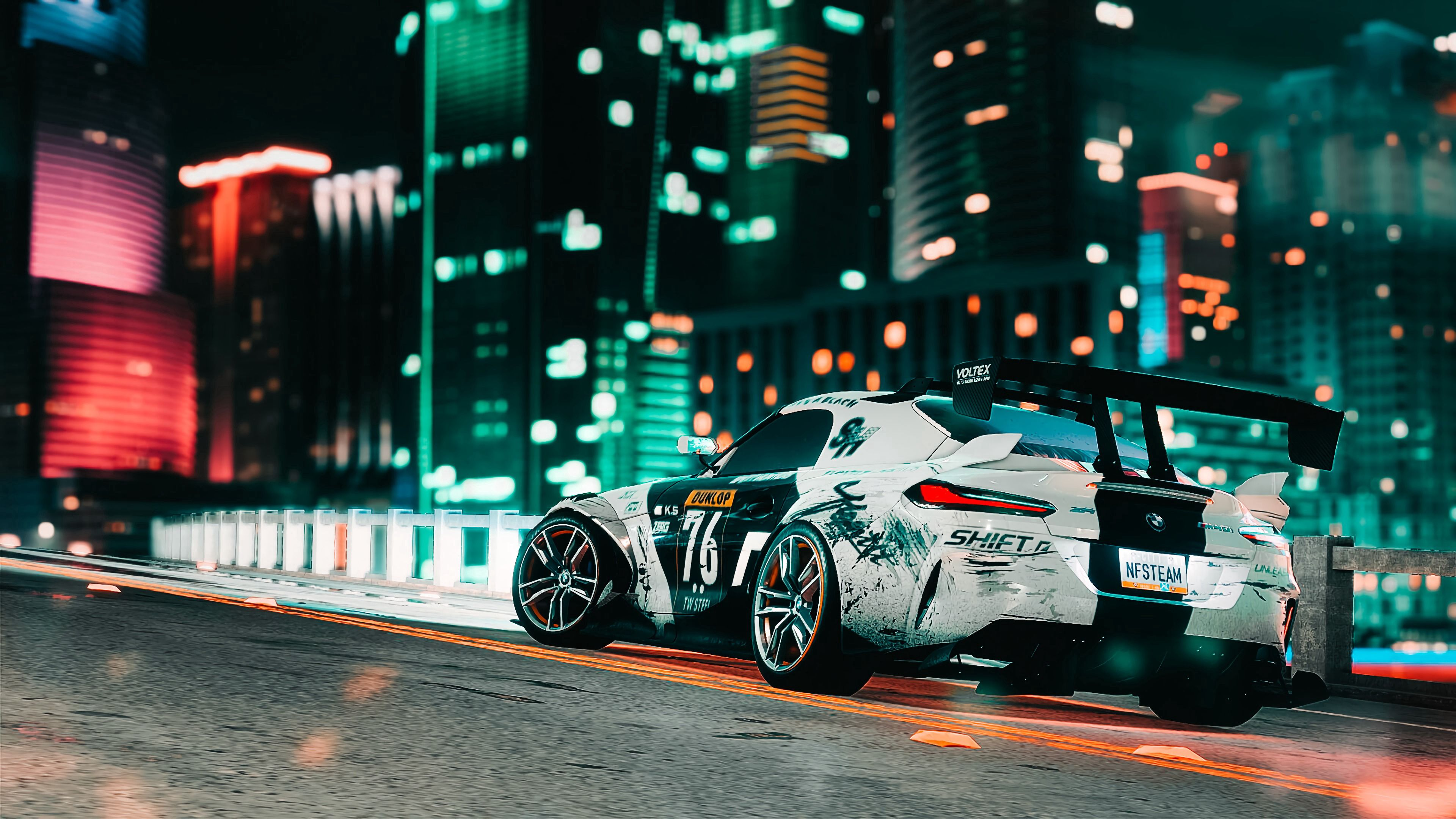 55455 download wallpaper Sports Car, Sports, Cars, City, Lights, Road, Car, Machine screensavers and pictures for free